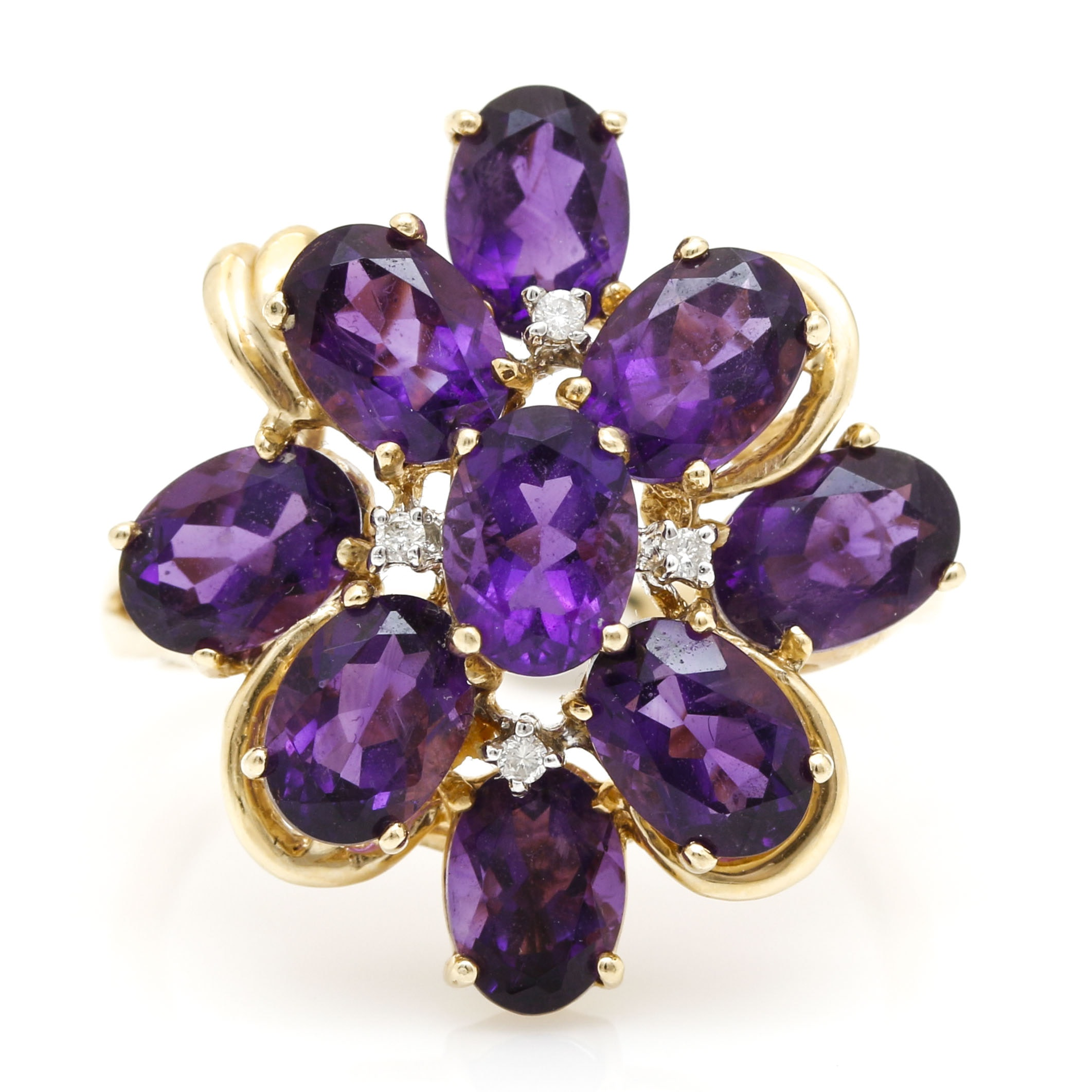 14K Yellow Gold Amethyst and Diamond Cluster Ring