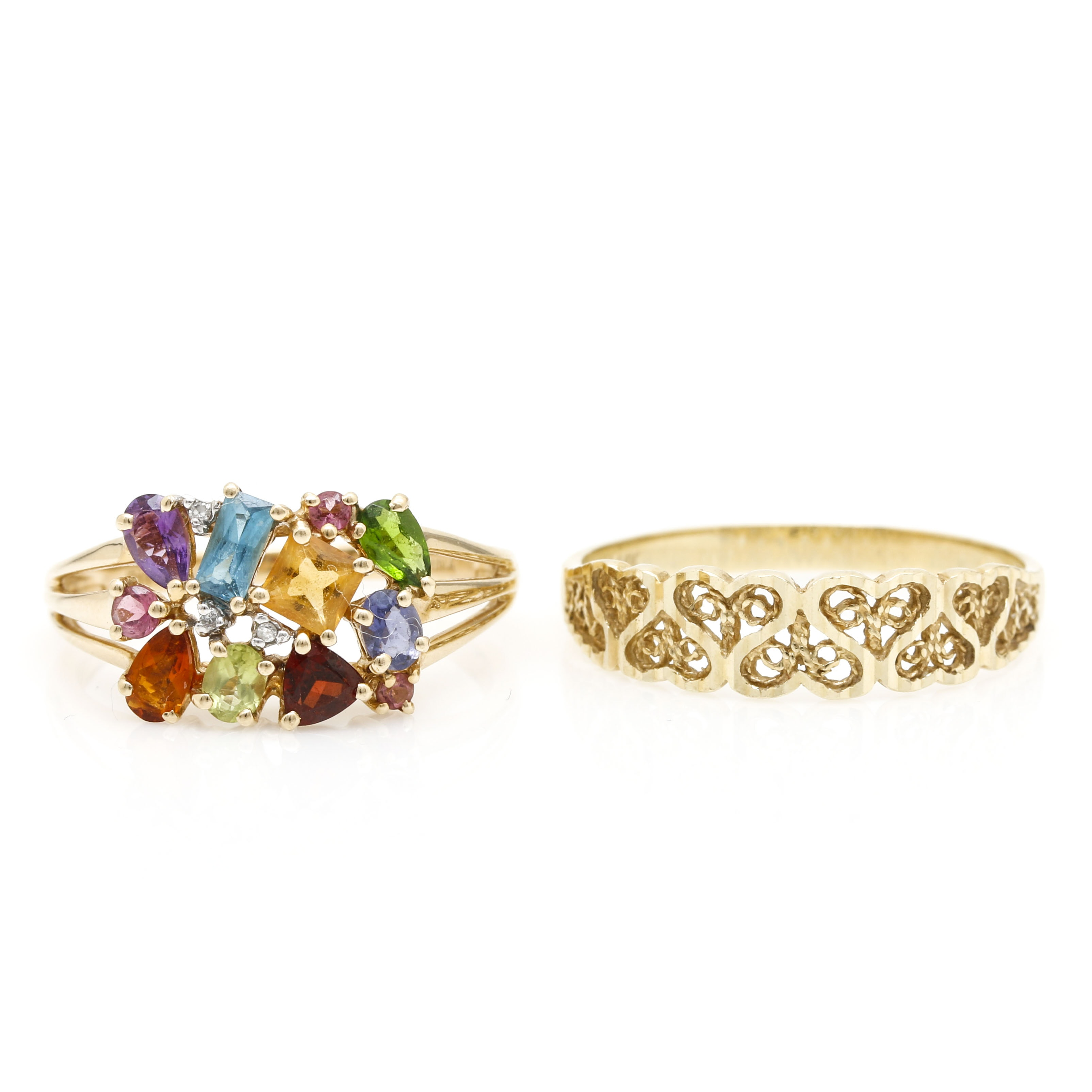 14K Yellow Gold and Gemstone Rings
