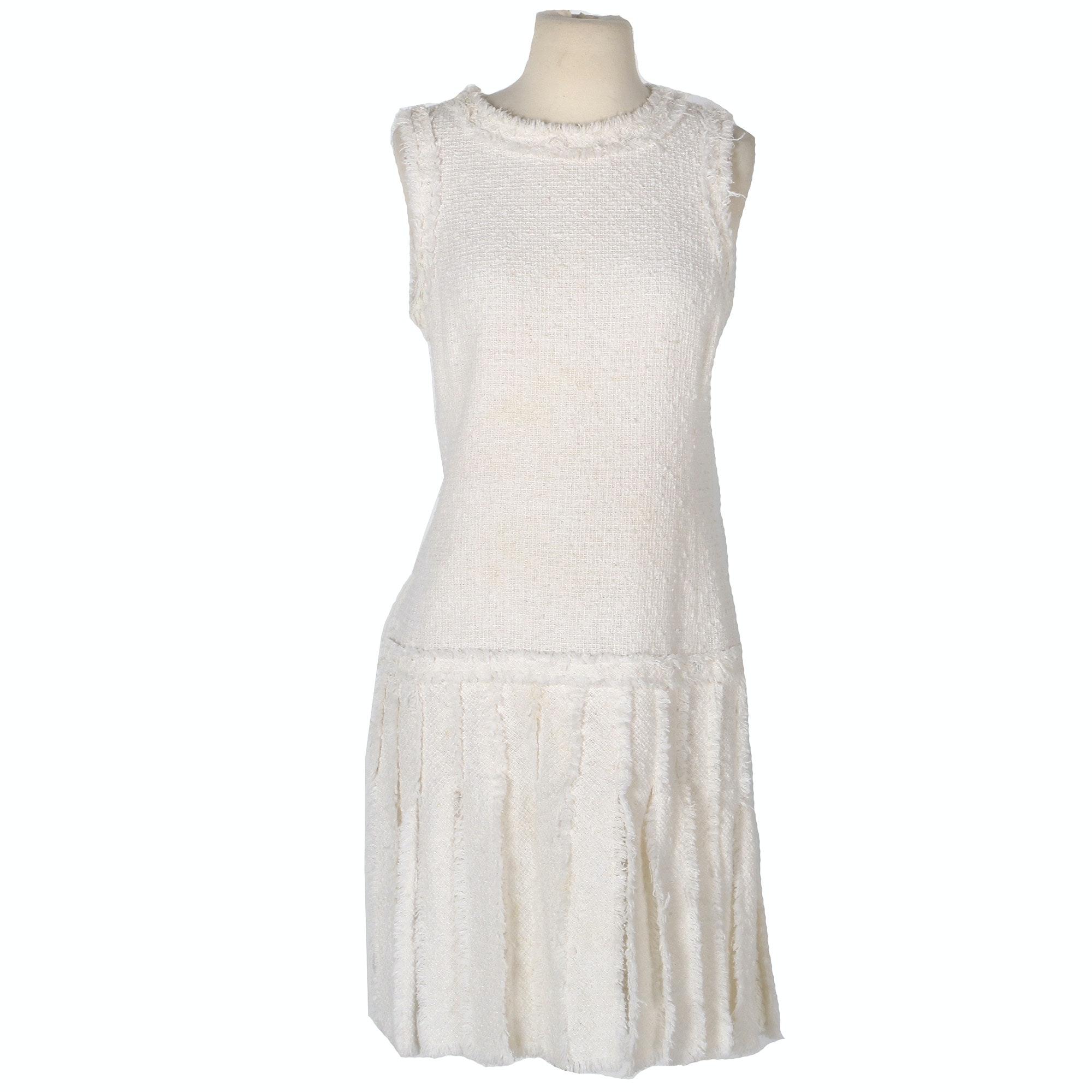 Chanel Cream Tweed Fringe Dress