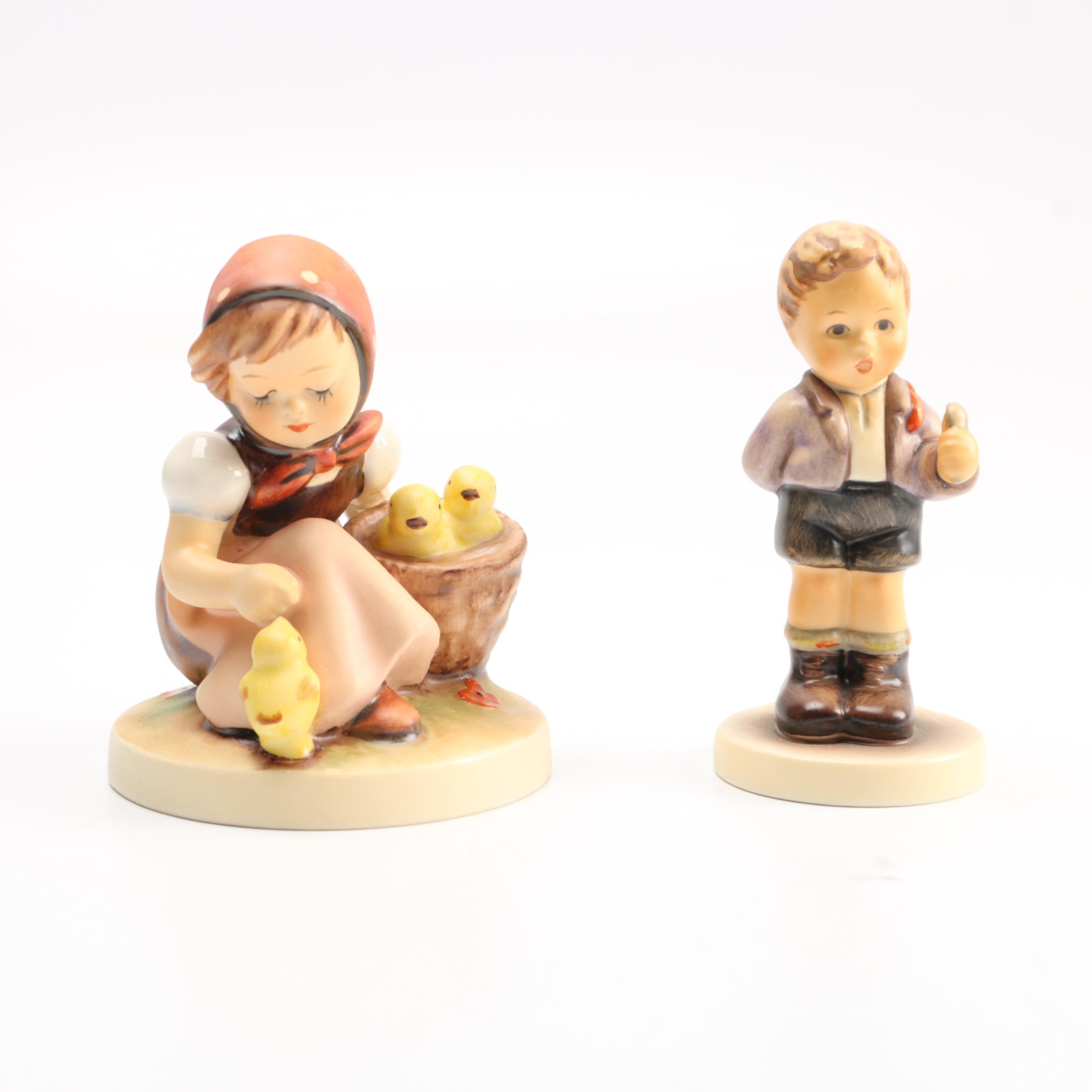 """Hummel Figurines """"No Thank You"""" and """"Chick Girl"""""""