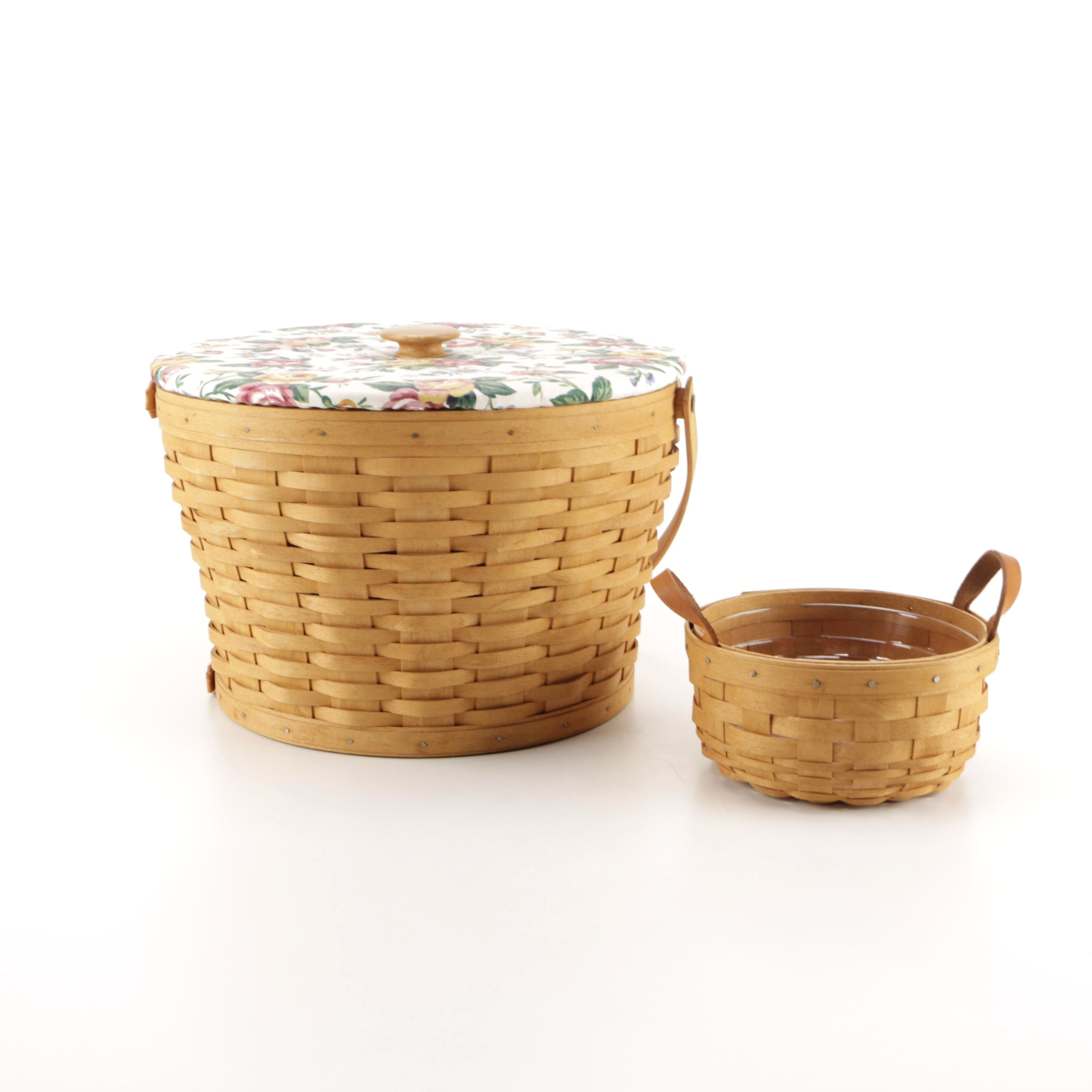 Longaberger Handwoven Sewing and Button Baskets