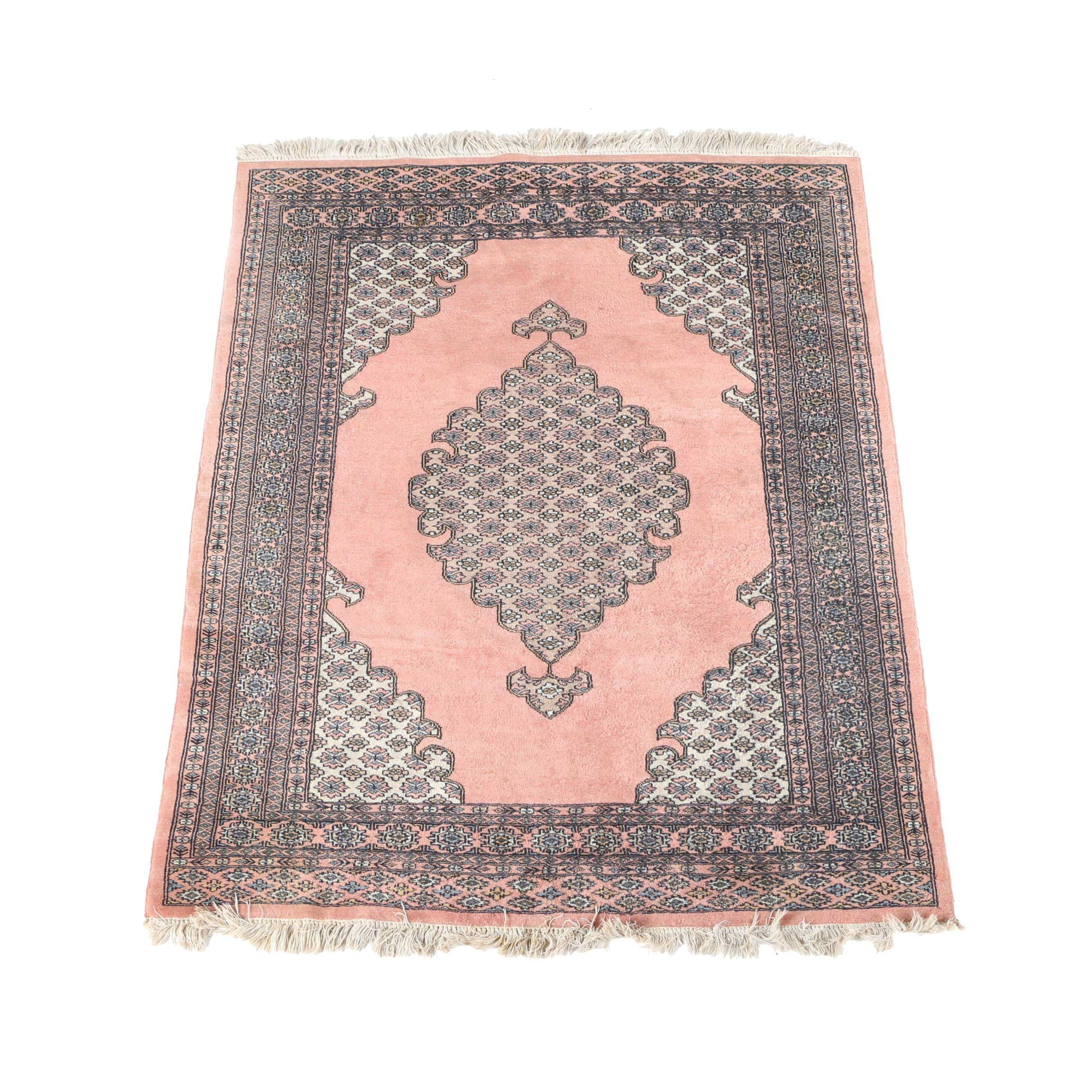 Hand-Knotted Pakistani Dusty Rose Area Rug