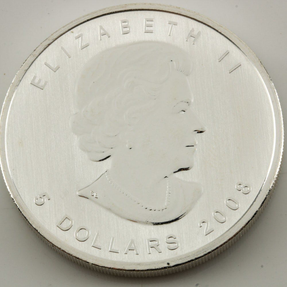 1 Oz Silver 2008 Canadian Five Dollar Coin