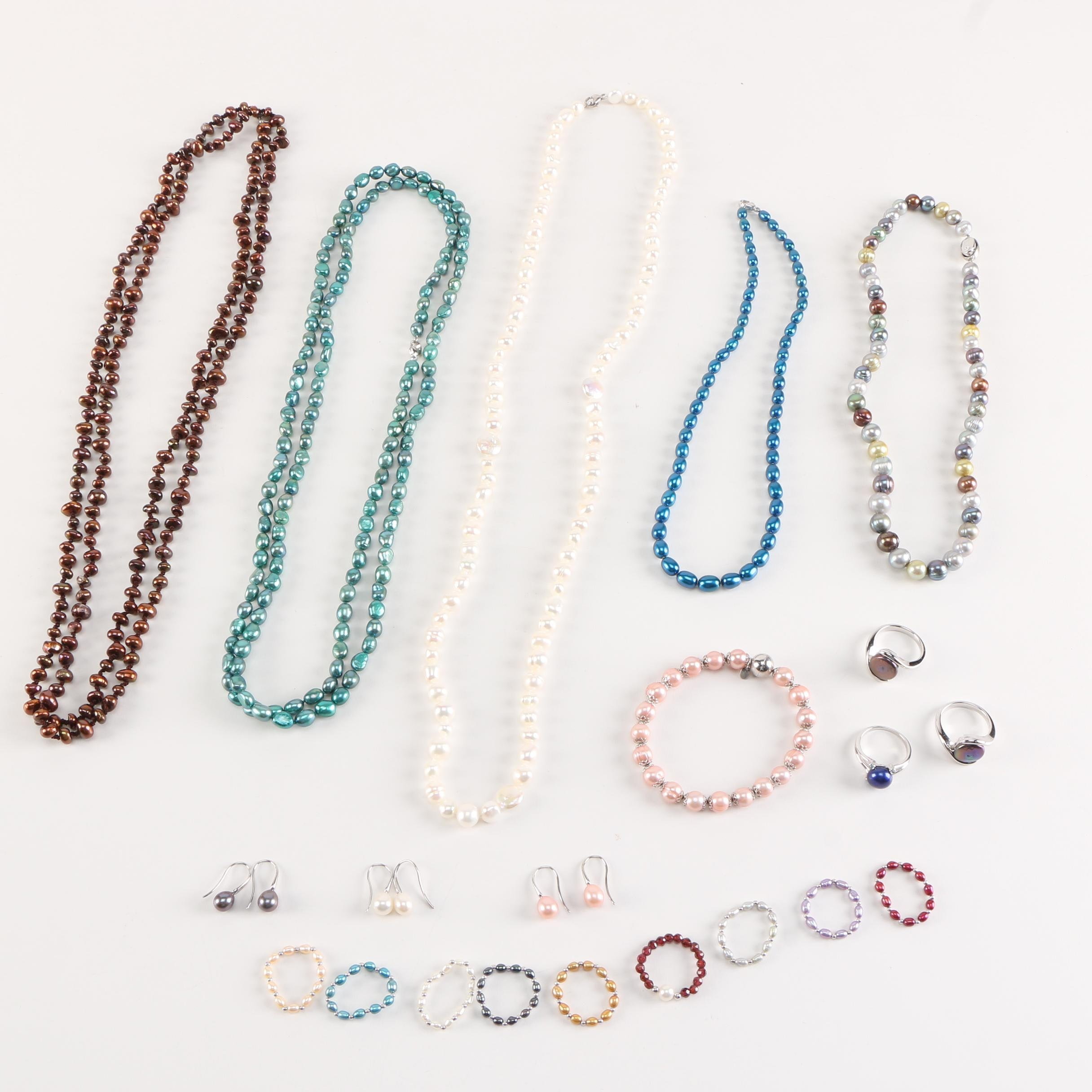 Beaded Cultured and Faux Pearl Jewelry With Sterling Silver Findings