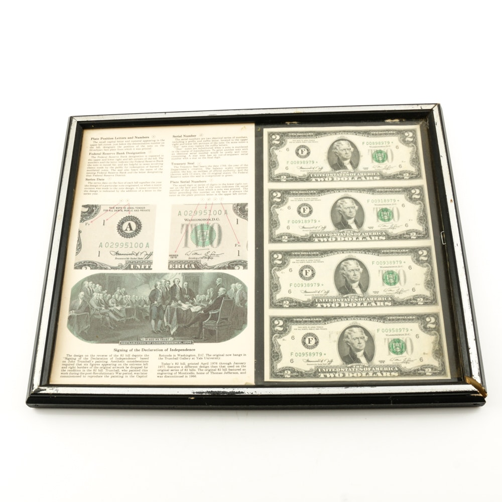 Framed Set of Four Uncut Two Dollar Federal Reserve Star Notes