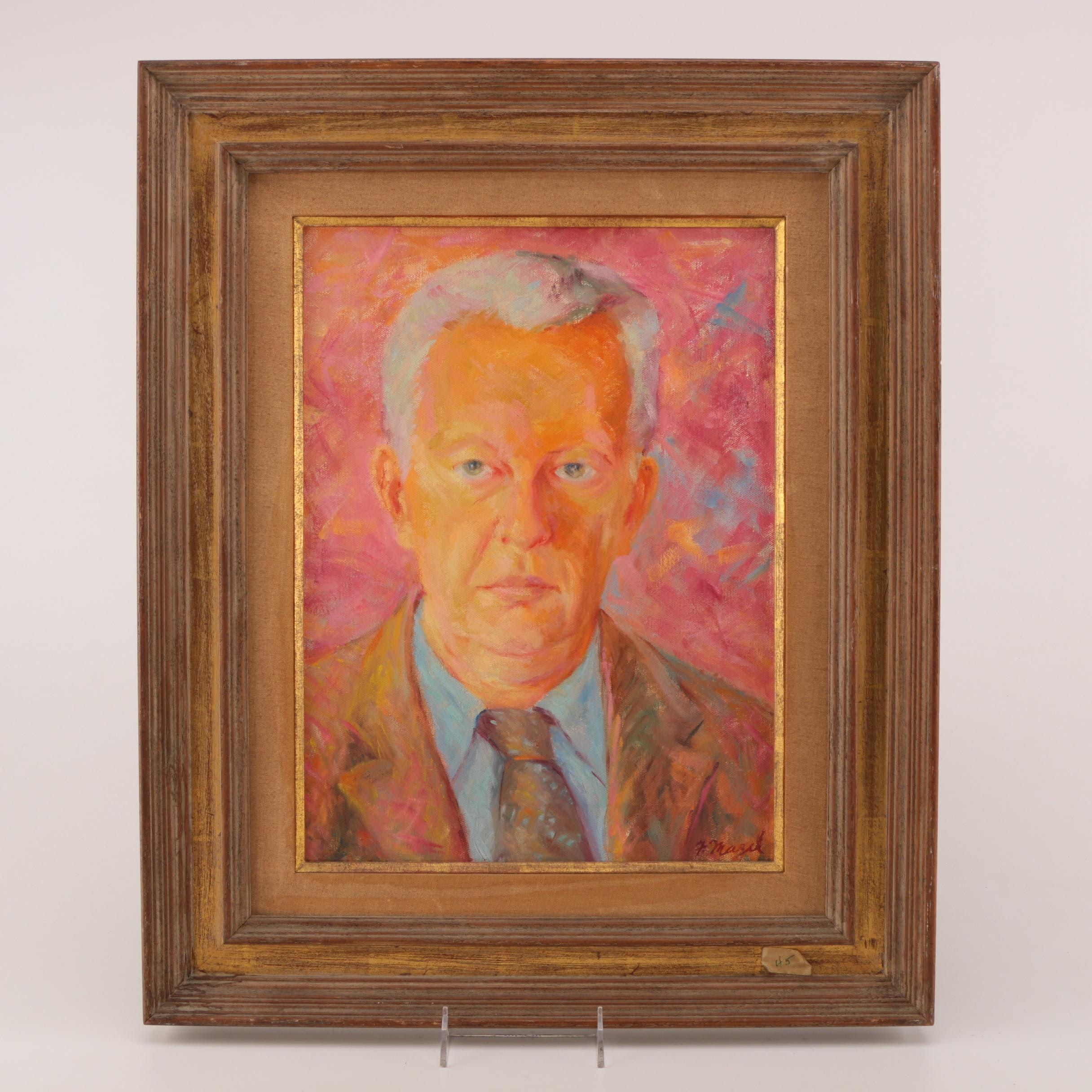 F. Mazel Oil on Canvas Portrait of a Man Against a Pink Background