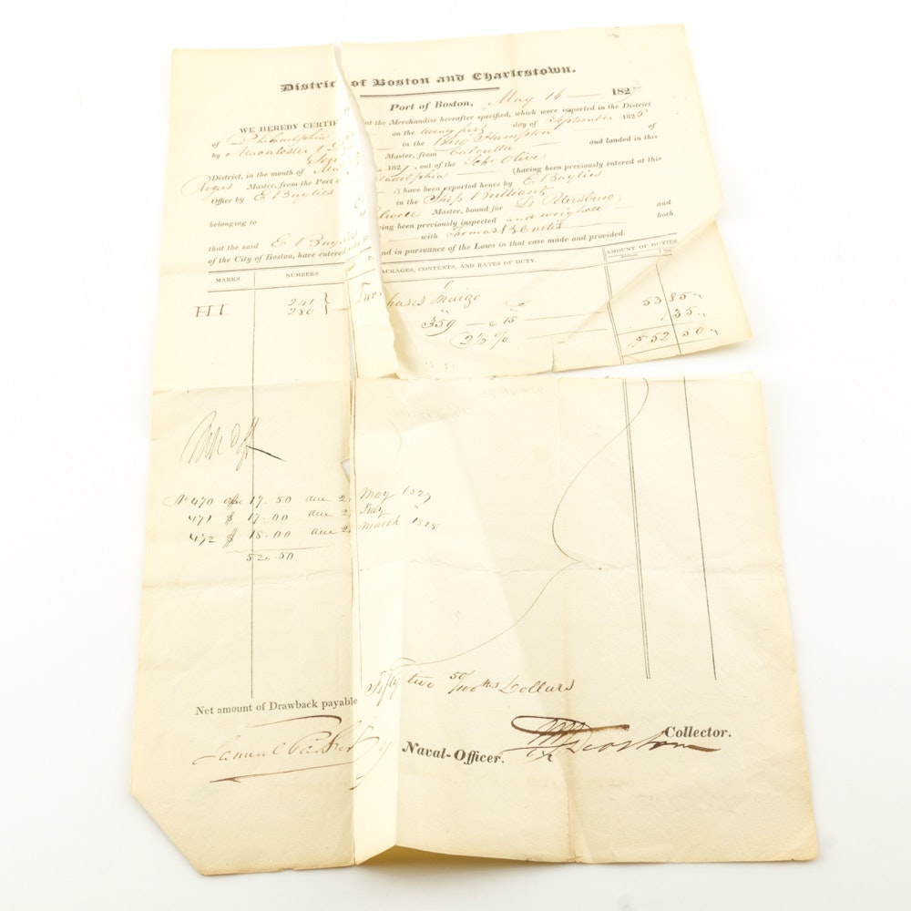 1827 District of Boston and Charleston, Port of Boston Import Certificate