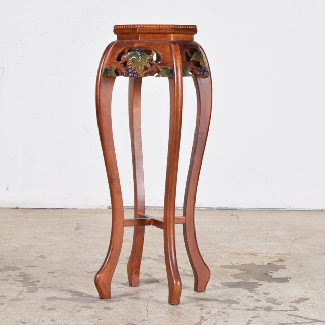 Carved Wood Plant Stand with Marble Top