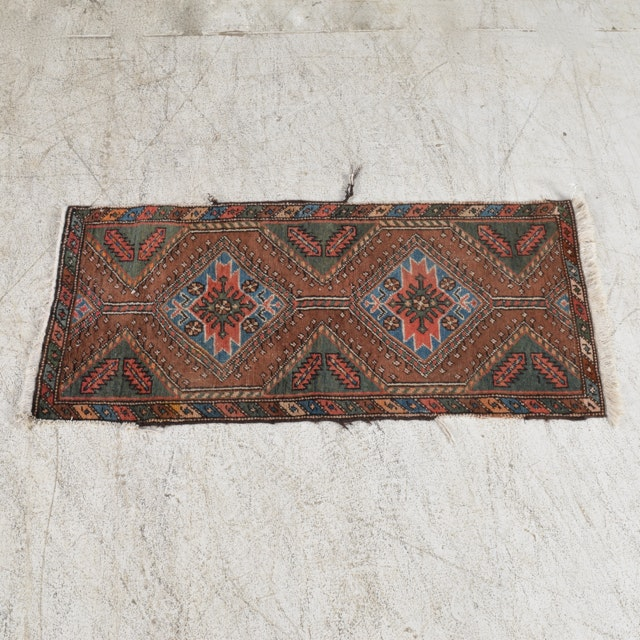 Hand-Knotted Wool Caucasian Accent Rug