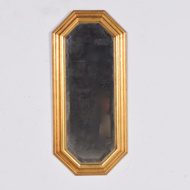 Octagonal Wall Mirror with Gold Tone Frame