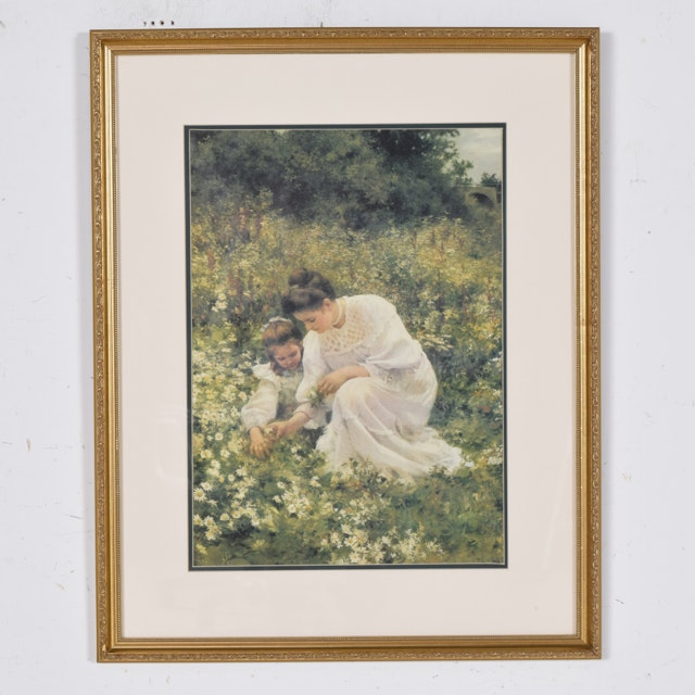 Framed Offset Lithograph of a Young Woman and a Girl Picking Daisies in a Field