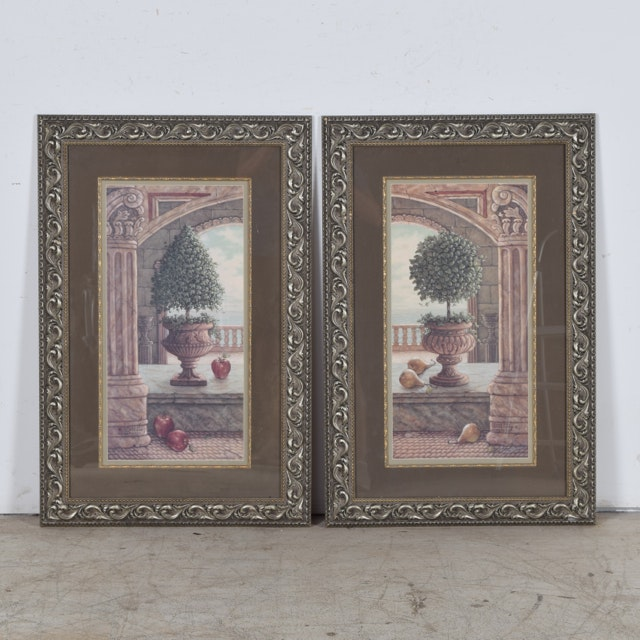 """Janet Kruskamp Pair of Framed Offset Lithographs """"Apple & Topiary"""" and """"Pear & Topiary"""""""