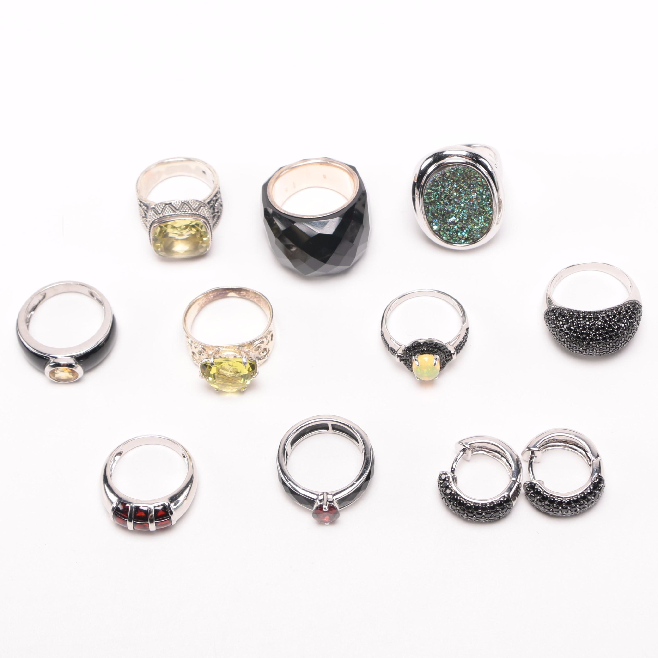 Sterling Silver and Gemstone Ring and Earring Assortment