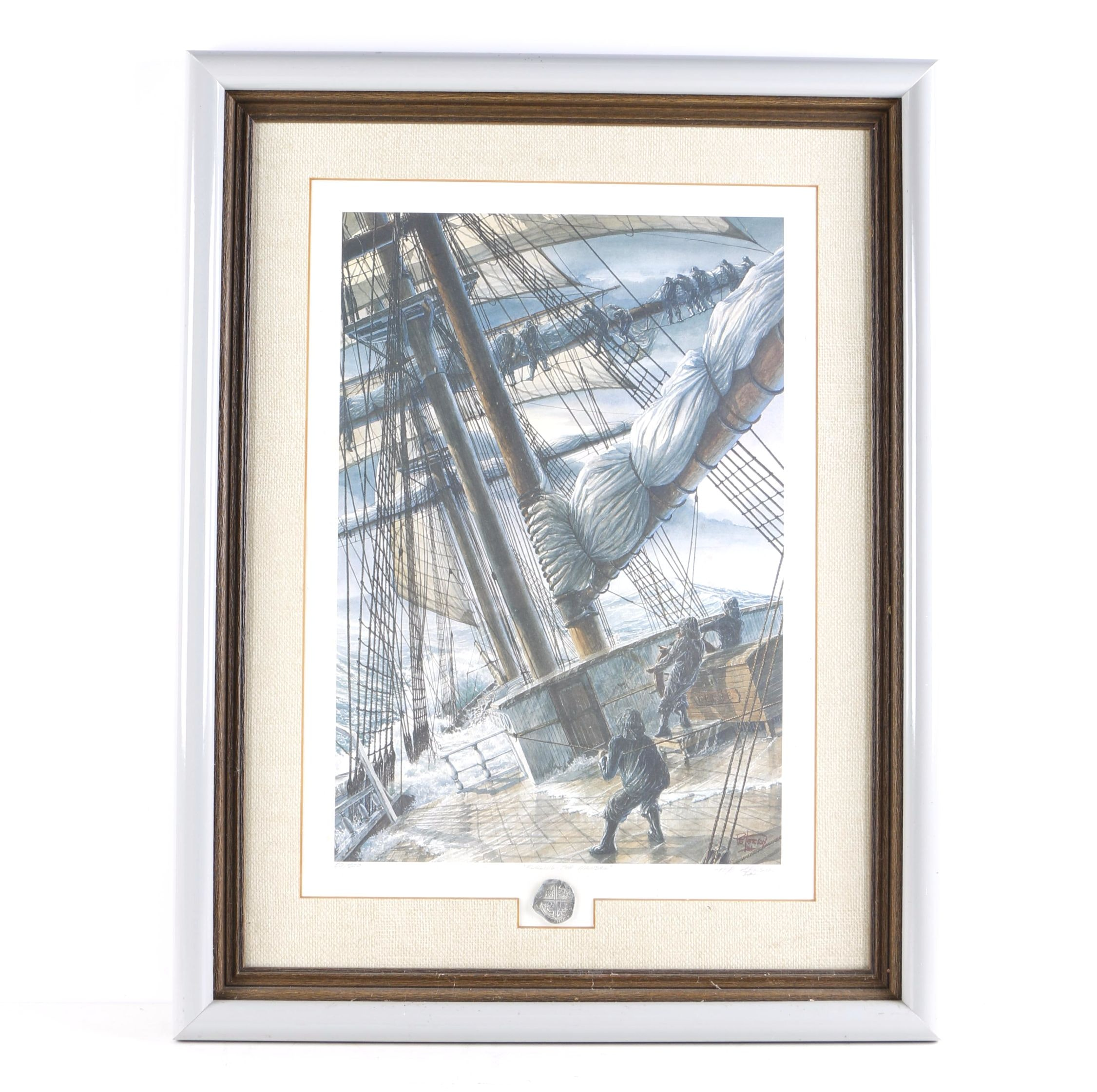 "Pete Peterson Limited Edition Offset Lithograph ""Furling the Mainsail"""