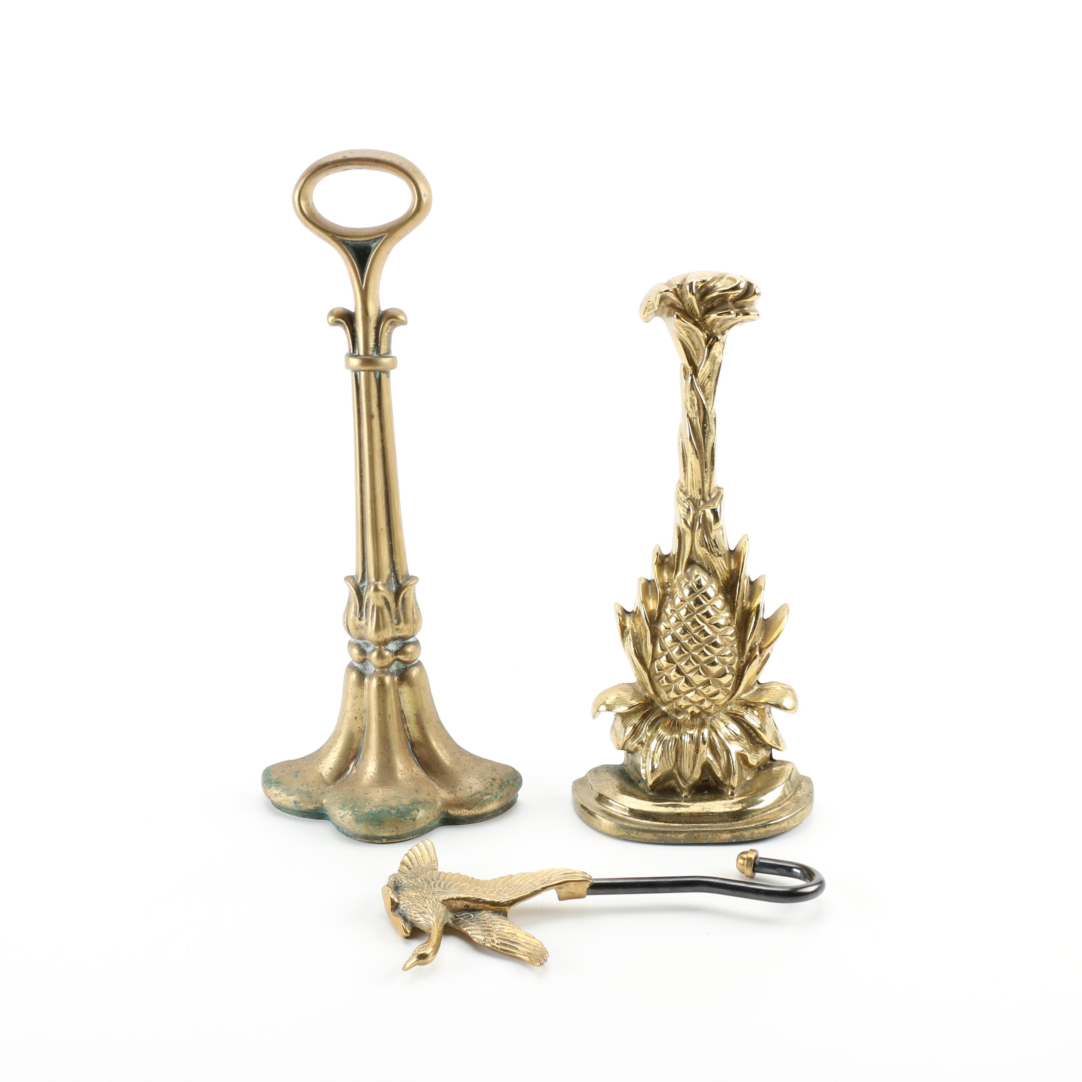 Brass Fireplace Andirons and Damper Hook