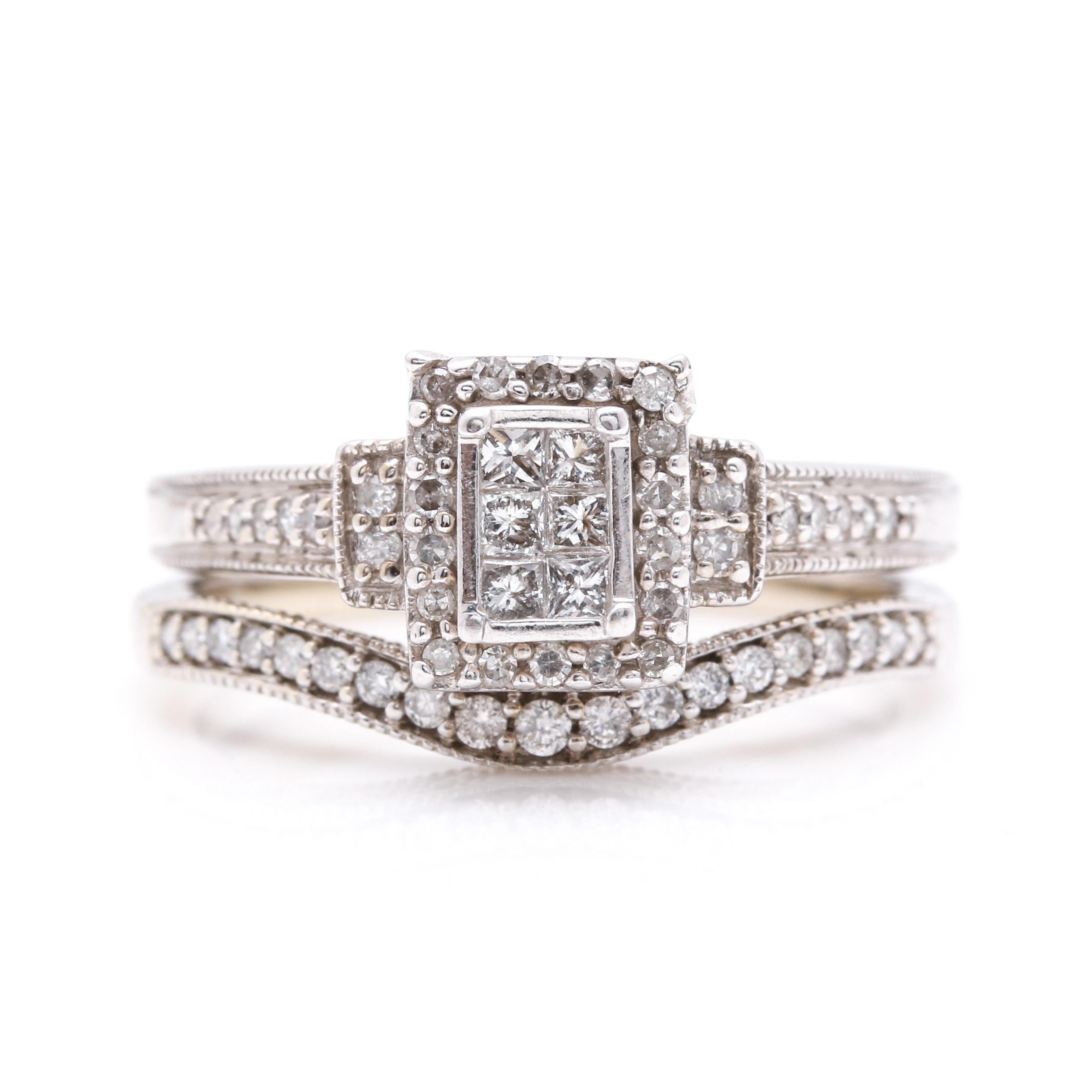 10K and 14K White Gold Diamond Wedding Ring Set