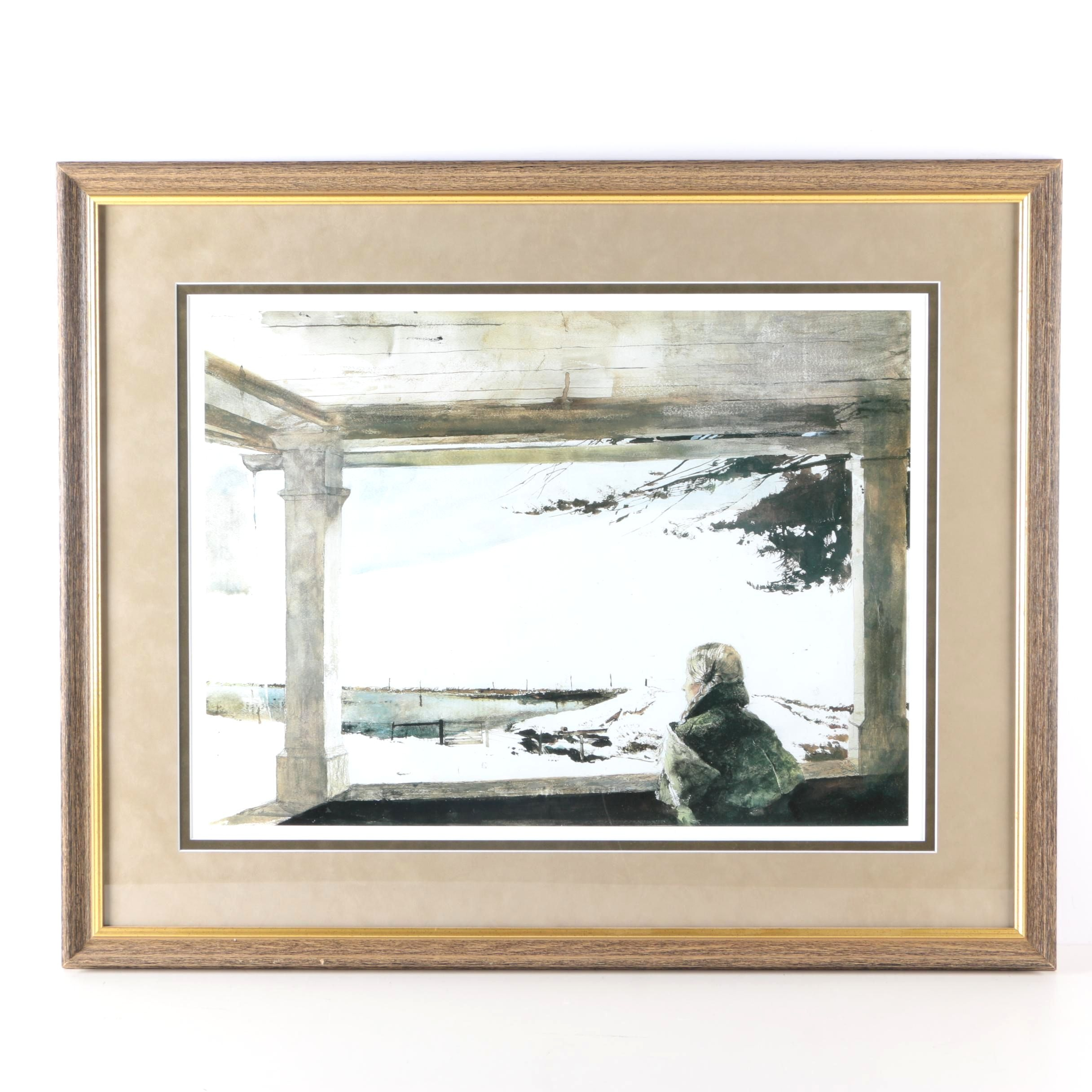 """Limited Edition Offset Lithograph After Andrew Wyeth's Painting """"Easy Sunday"""""""