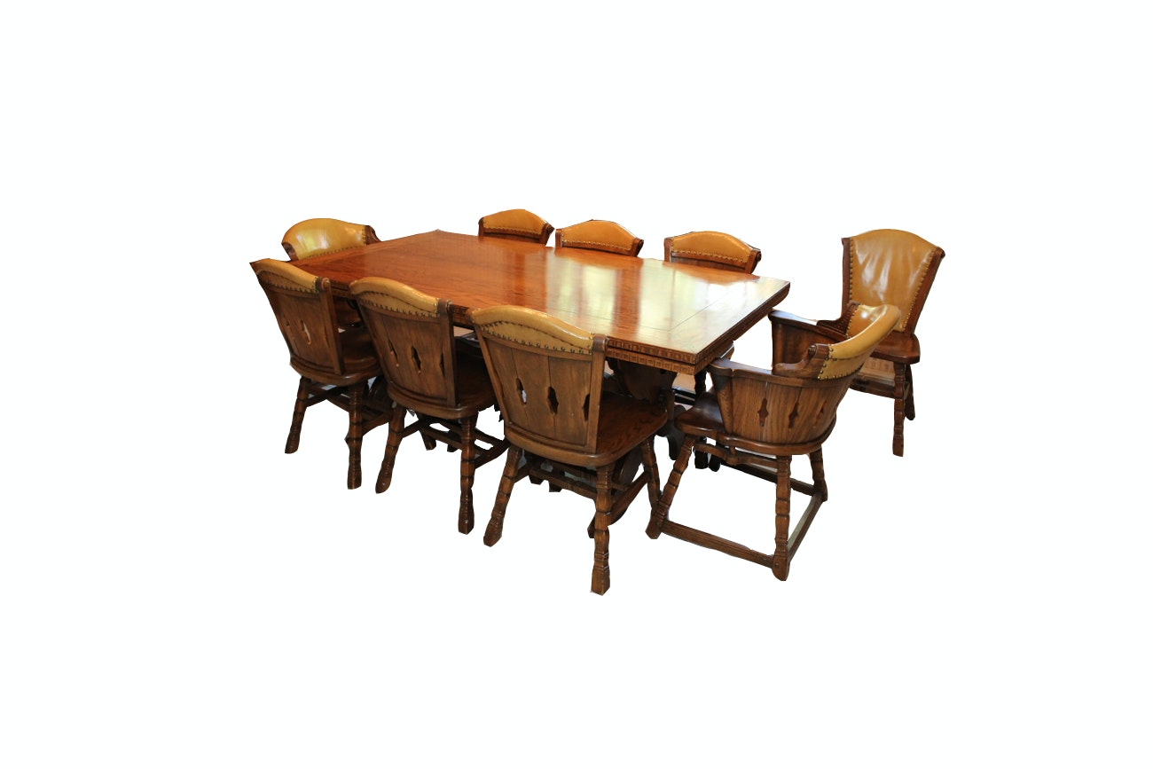 Mid-Century Romweber Viking Oak Refectory Dining Table With Nine Chairs