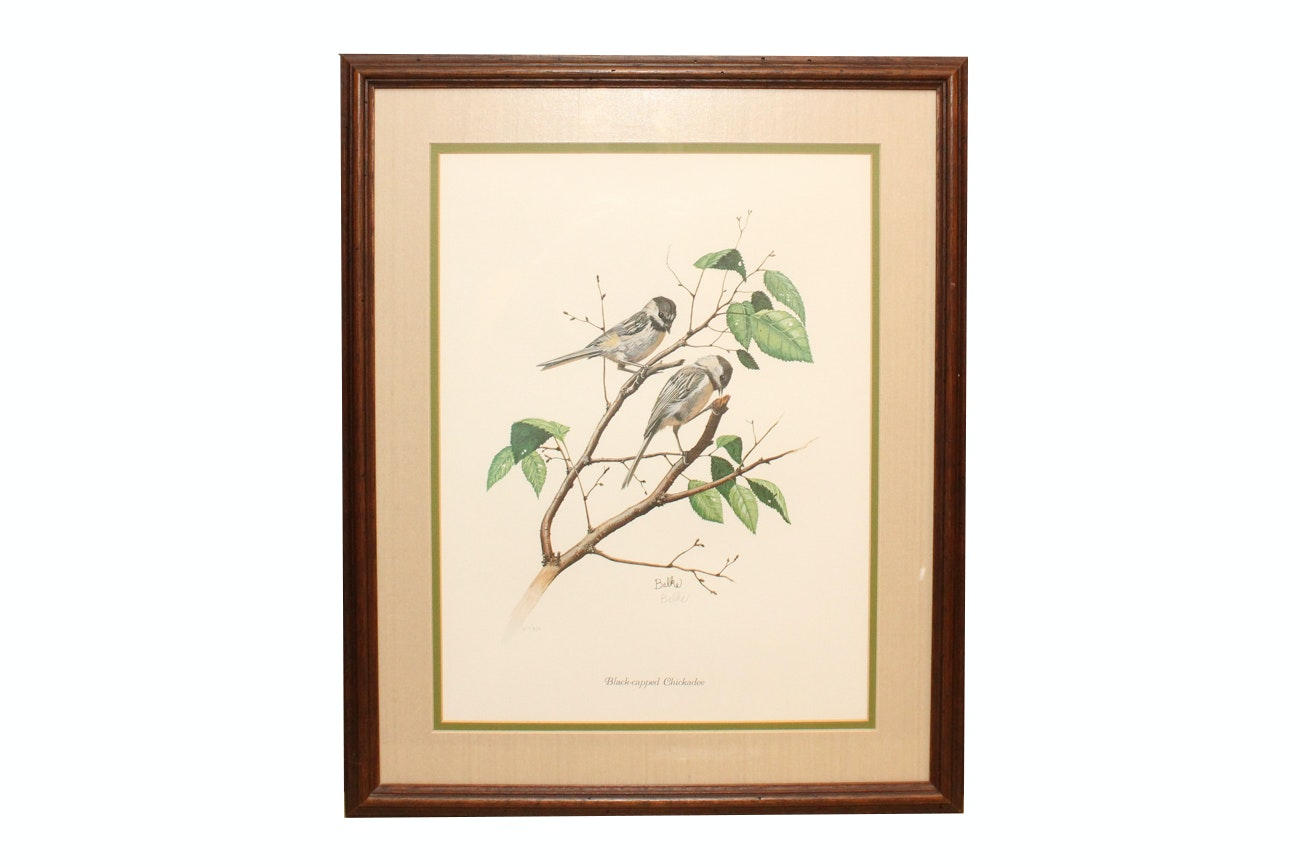 """Don Balke Limited Edition Offset Lithograph """"Black-Capped Chickadee"""""""