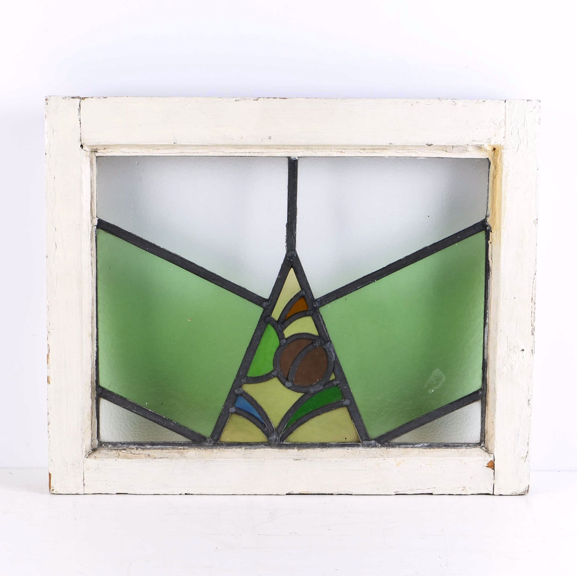 Vintage Wooden Window Frame With Stained Glass