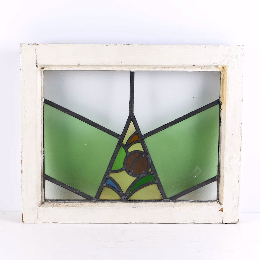Vintage Wooden Window Frame With Stained Glass : EBTH