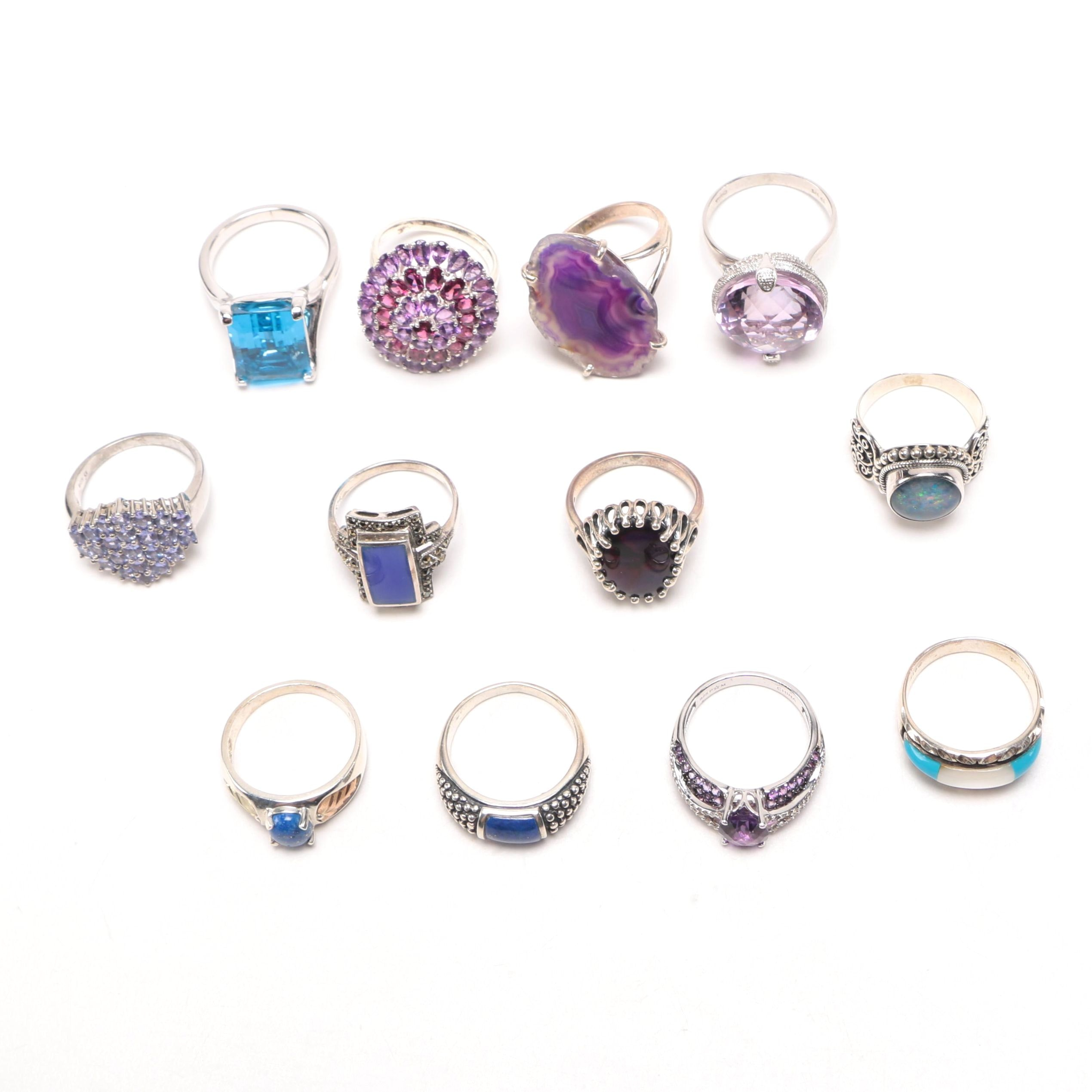 Sterling Silver Statement Rings With Assorted Gemstones