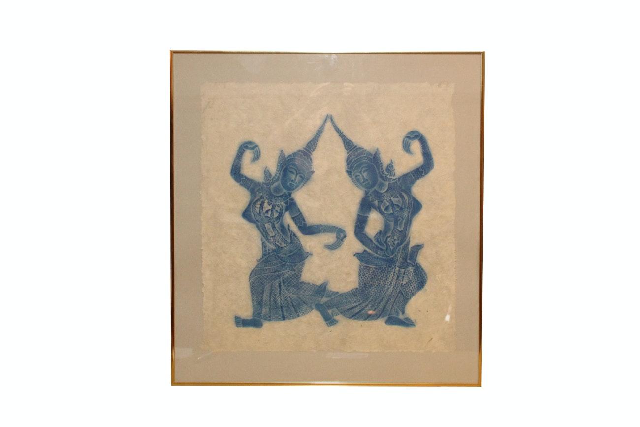 Framed Thai Rubbing on Paper