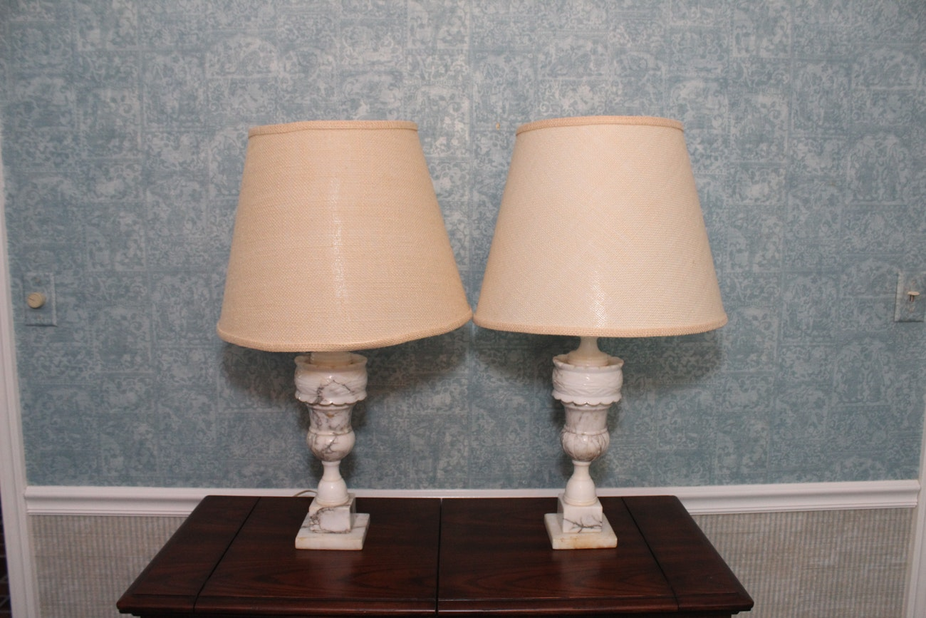 Pair Of Carrara Marble Table Lamps