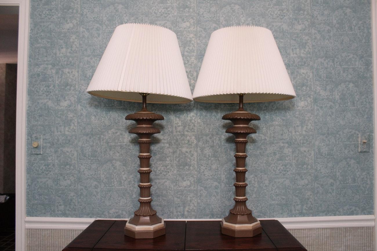 Pair Of Elegant Metal Table Lamps