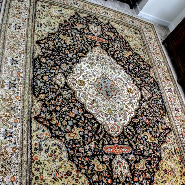 Large Kerman Hand Knotted Figural Rug