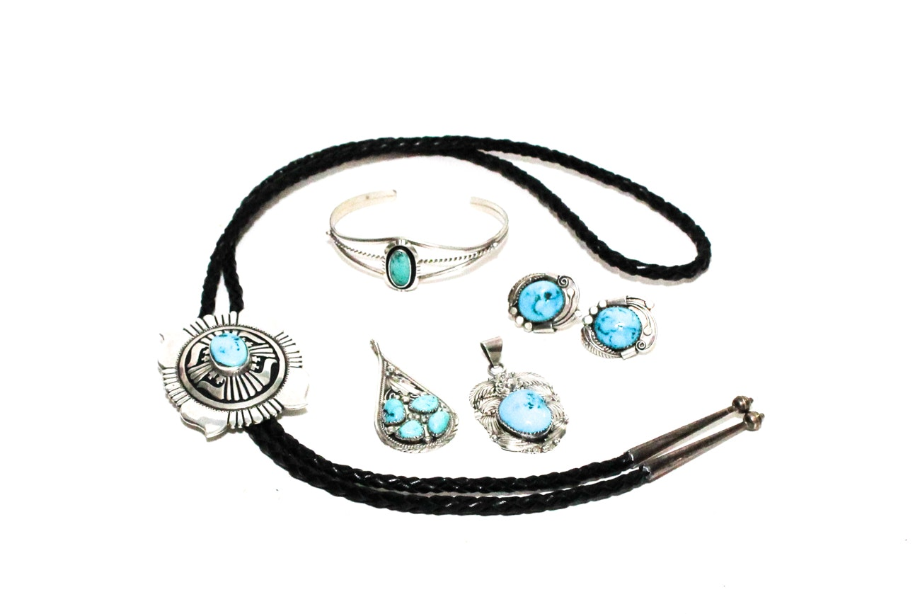 Large Collection Of Sterling Silver And Turquoise Jewelry