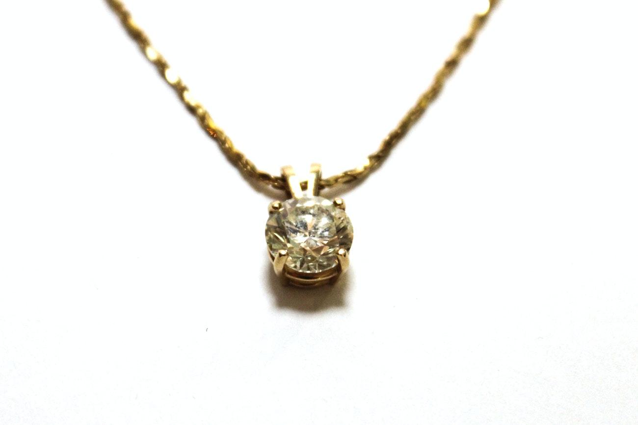 14K Yellow Gold 2.44 Carat Solitaire Diamond Pendant Necklace