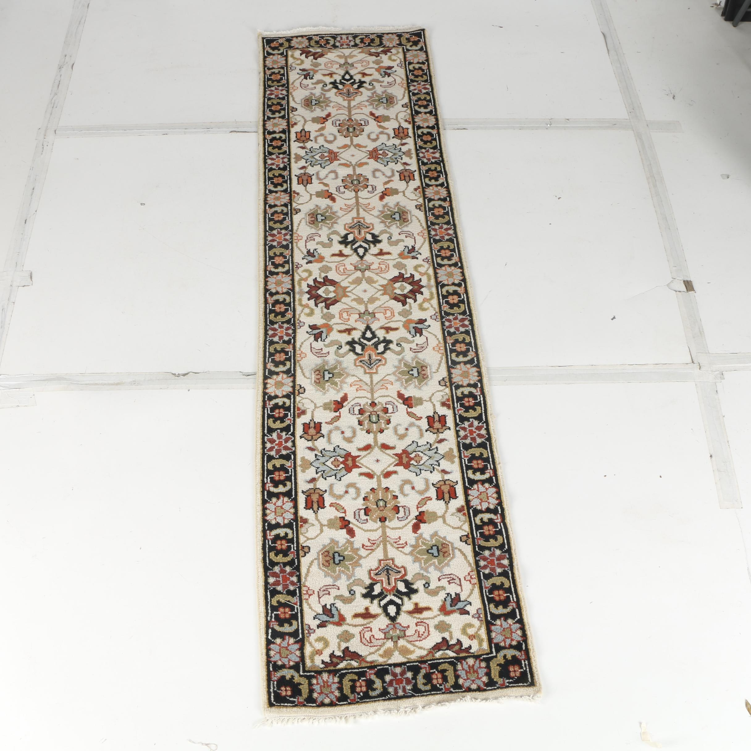 Hand-Knotted Northern Indian Carpet Runner