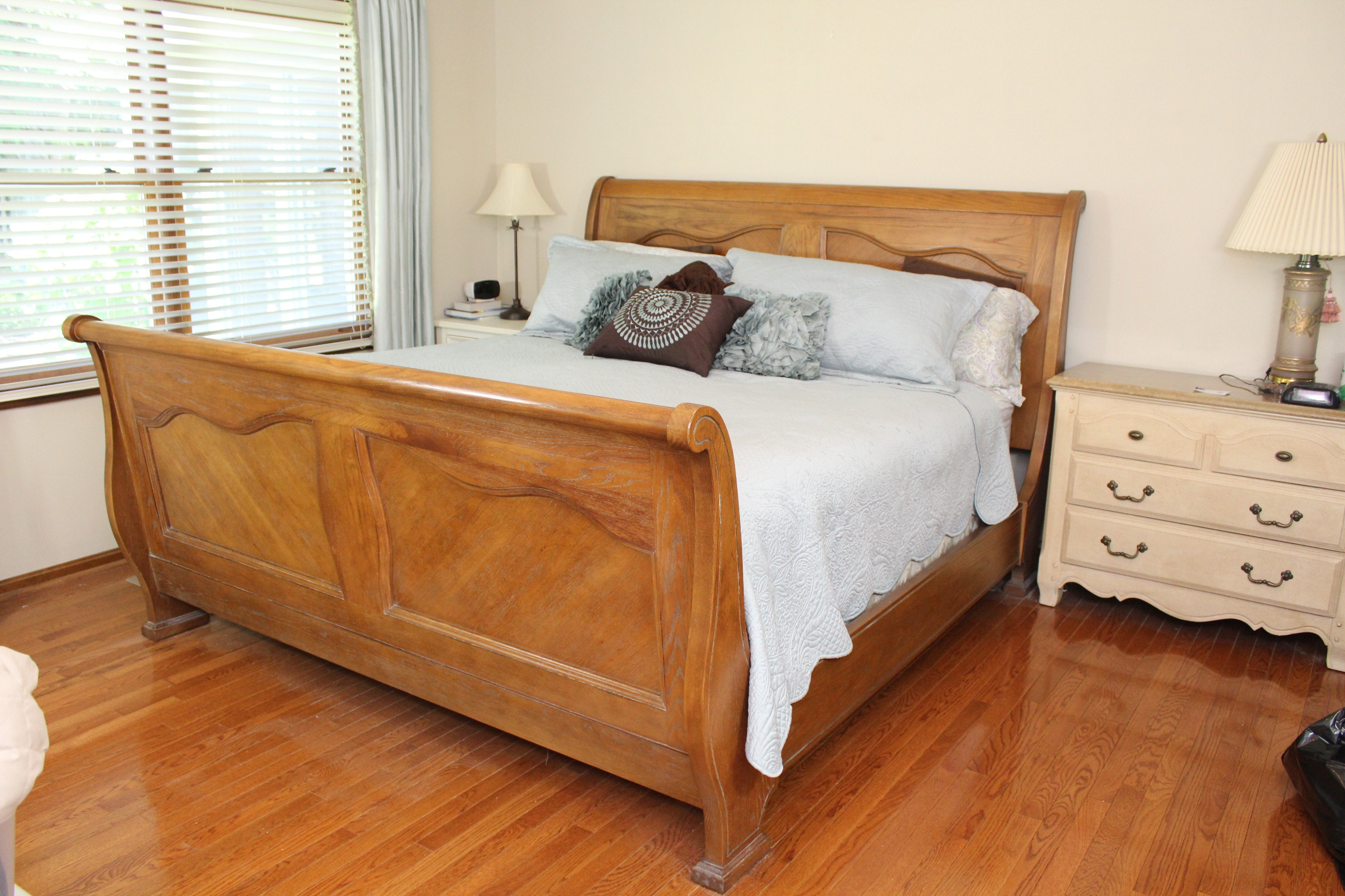 kingsize oak sleigh bed frame