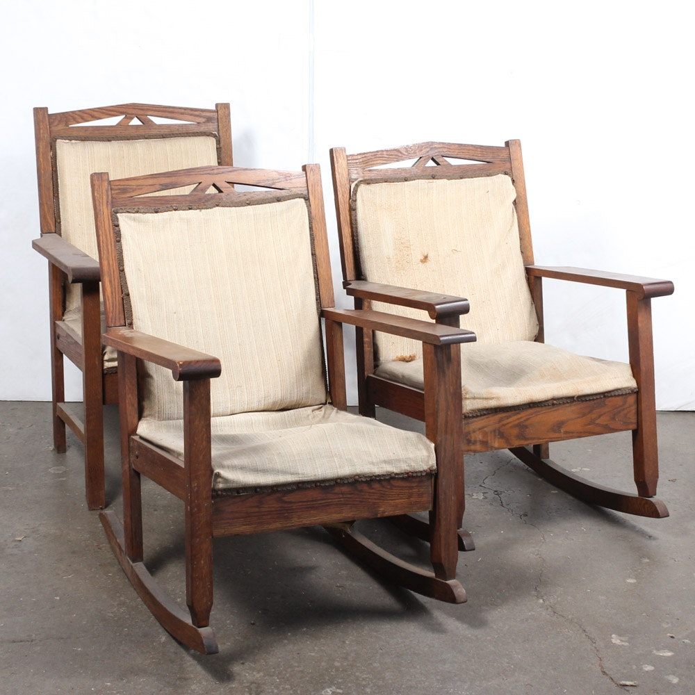 Early 20th Century Arts and Crafts Oak Chairs
