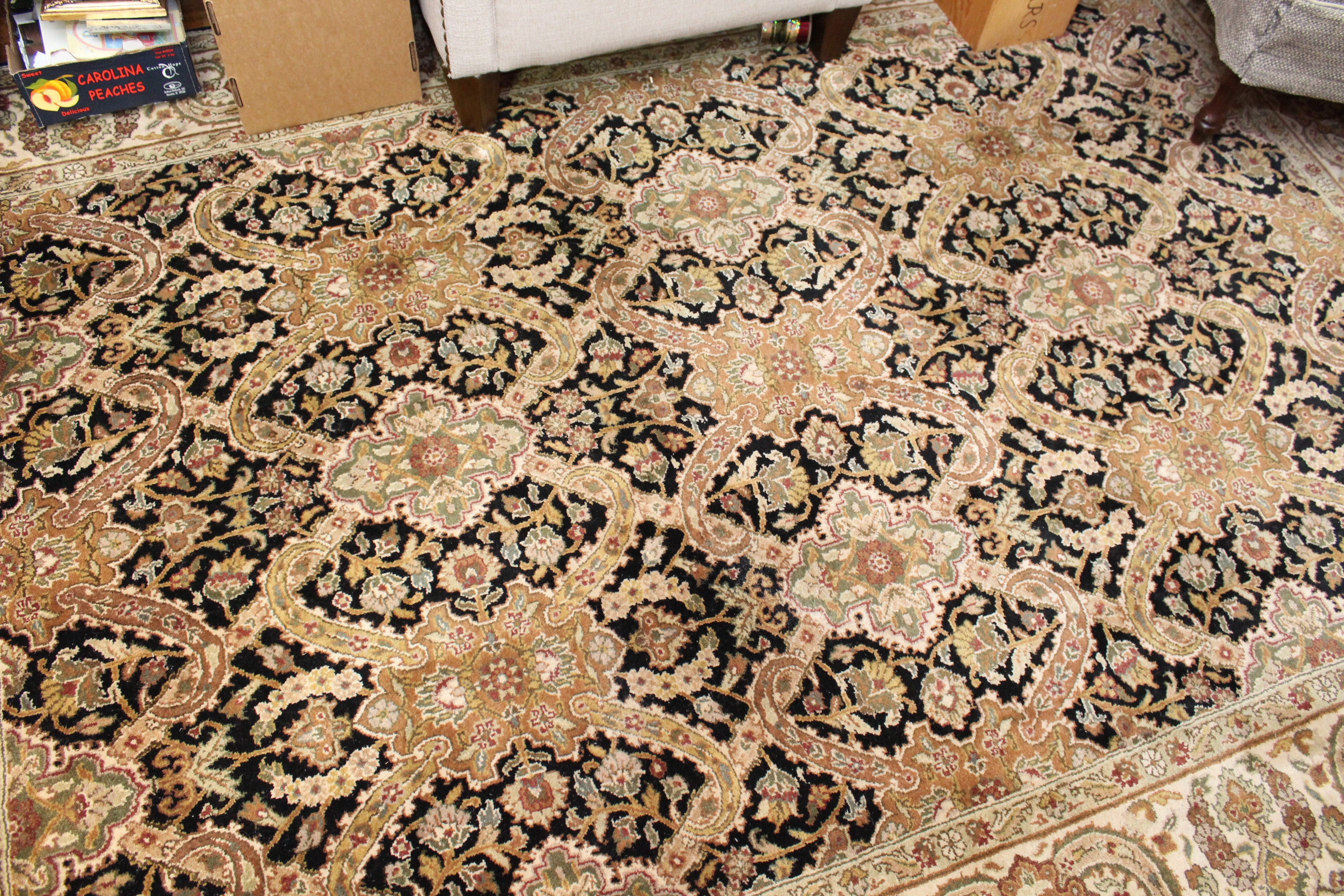 Ornate Hand-Knotted Indo-Perisan Wool Area Rug