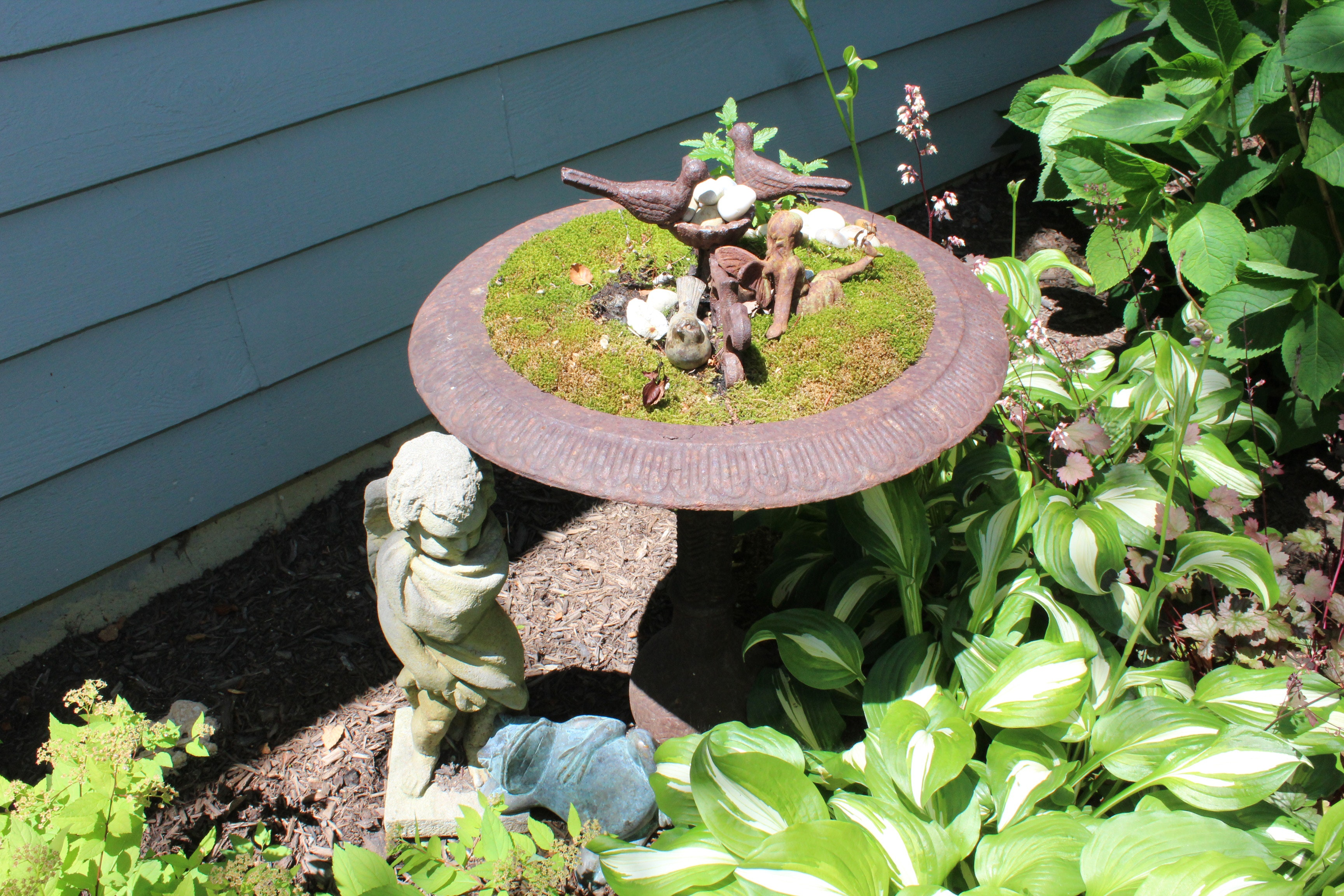 Planted Bird Bath With Ceramic and Brass Lawn Sculptures