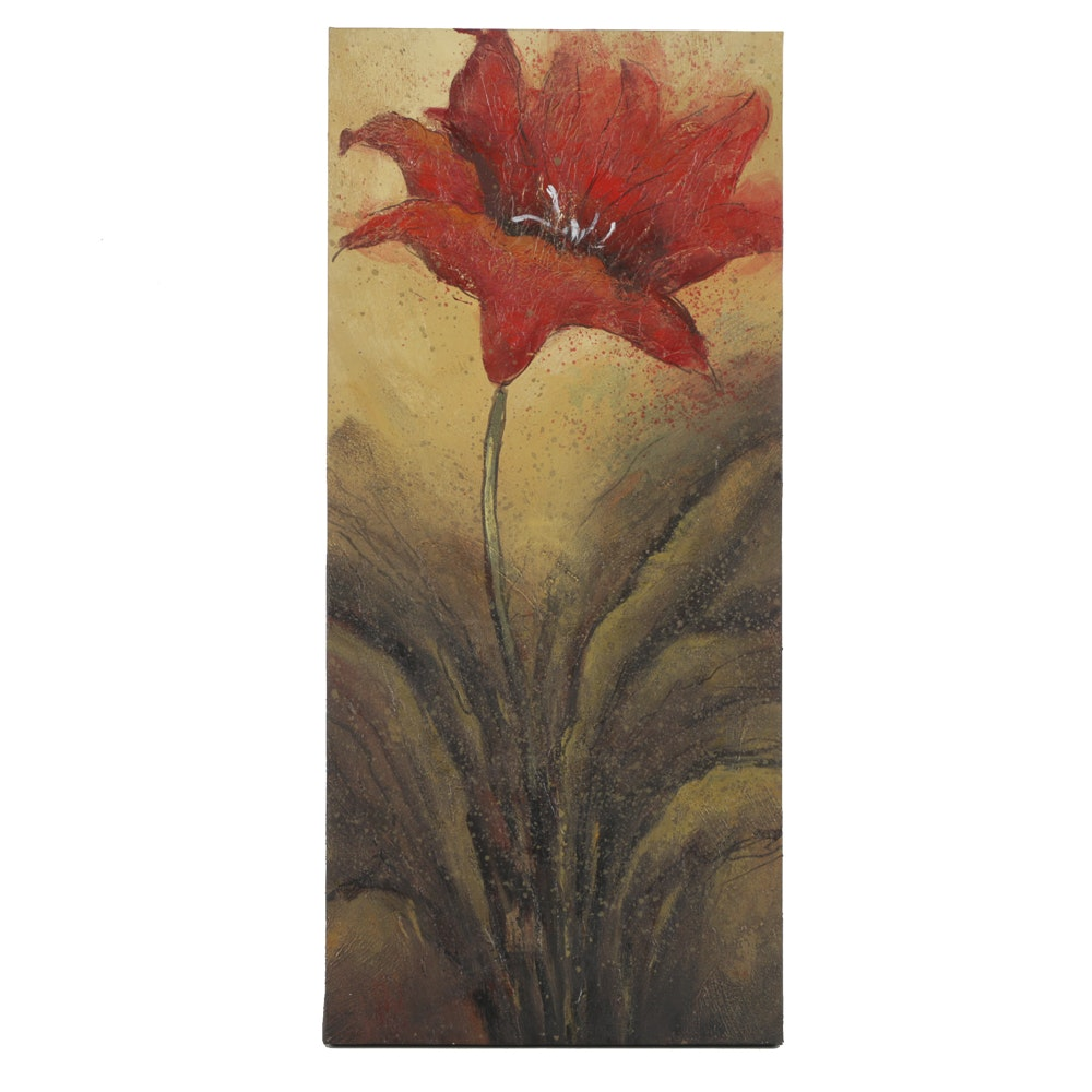Mixed Media Painting on Canvas of a Red Flower