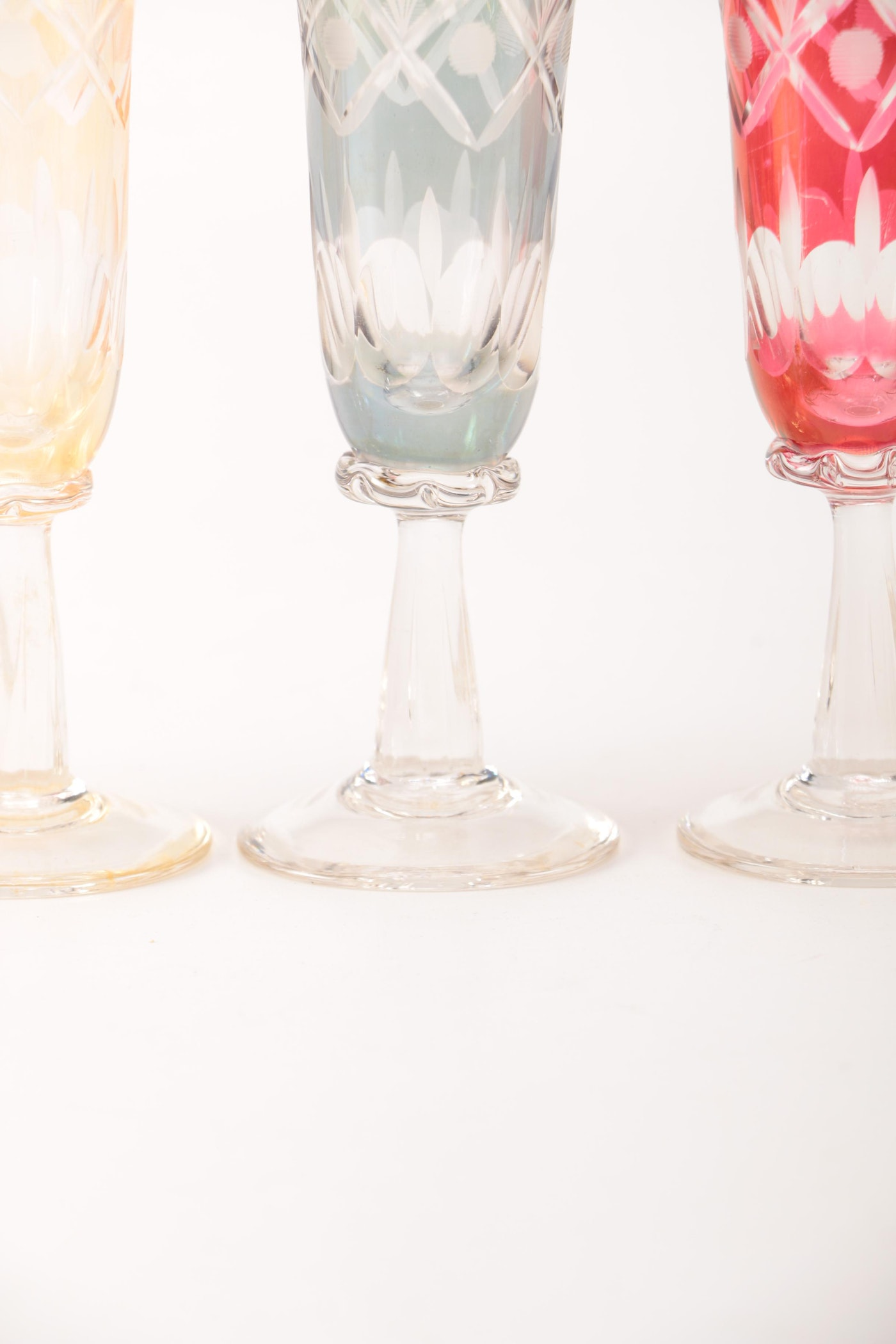 Long stem bohemian cut to clear wine glasses and fluted cordials ebth - Fluted wine glasses ...