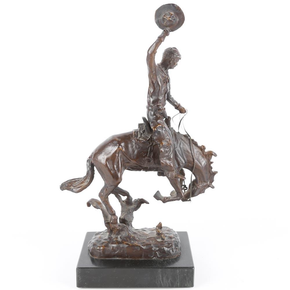 """Carl Kauba Bronze Sculpture """"Rodeo RIder"""""""