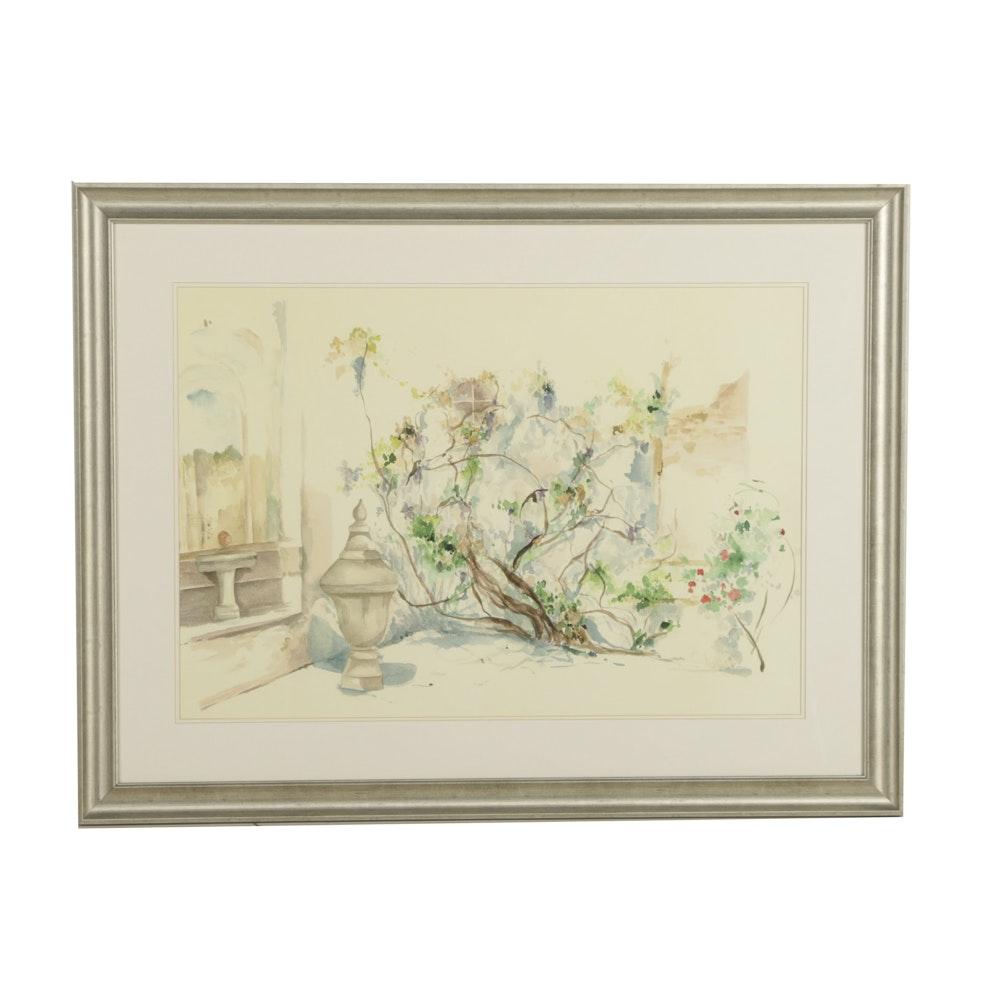 Offset Lithograph on Paper Garden Scene