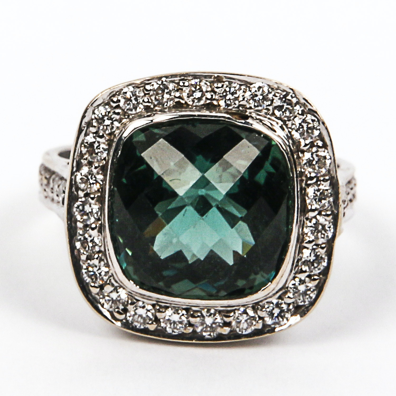 18K White Gold Checkerboard Cushion Cut Green Tourmaline Ring