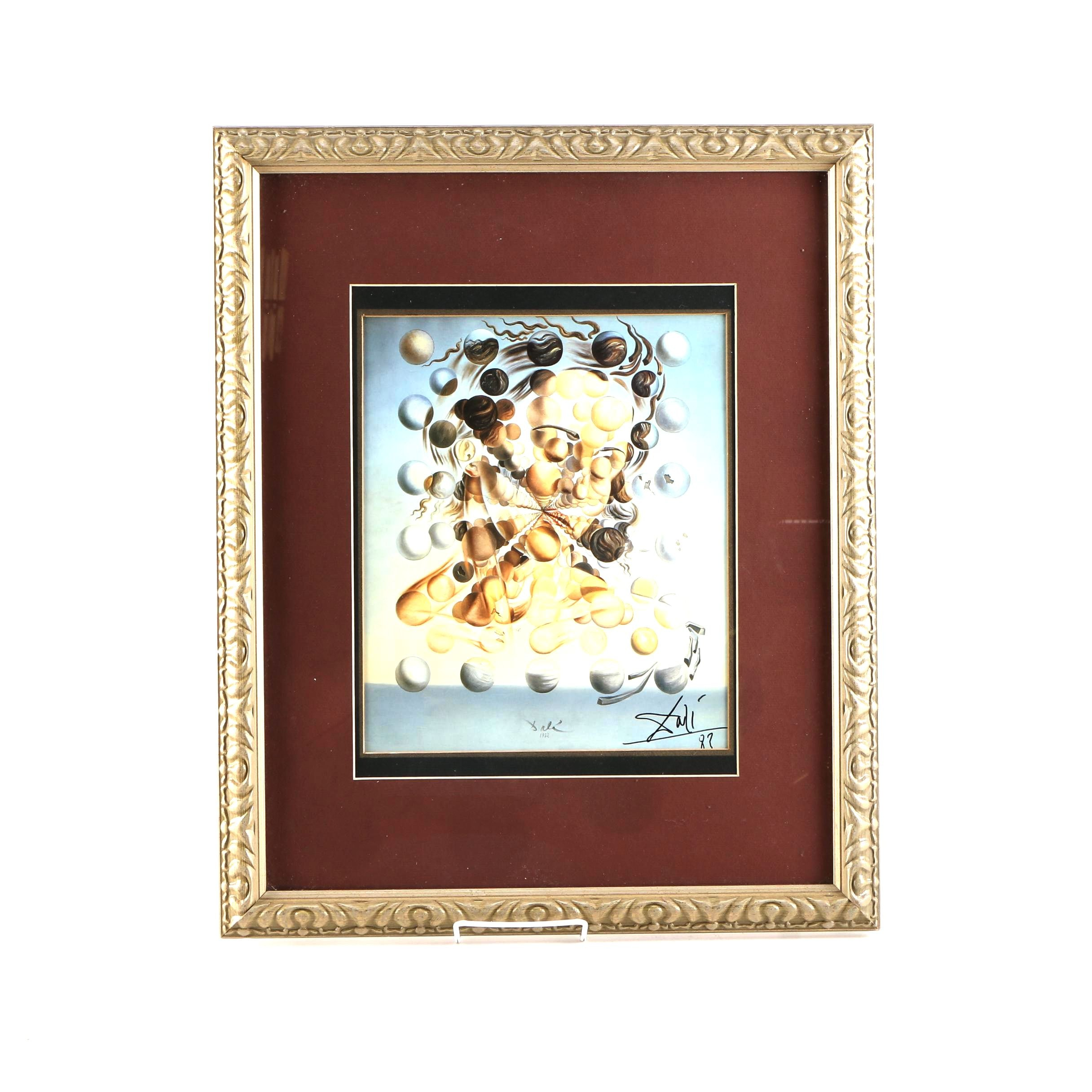 "Dali Signed Offset Lithograph on Paper After ""Galatea of the Spheres"""