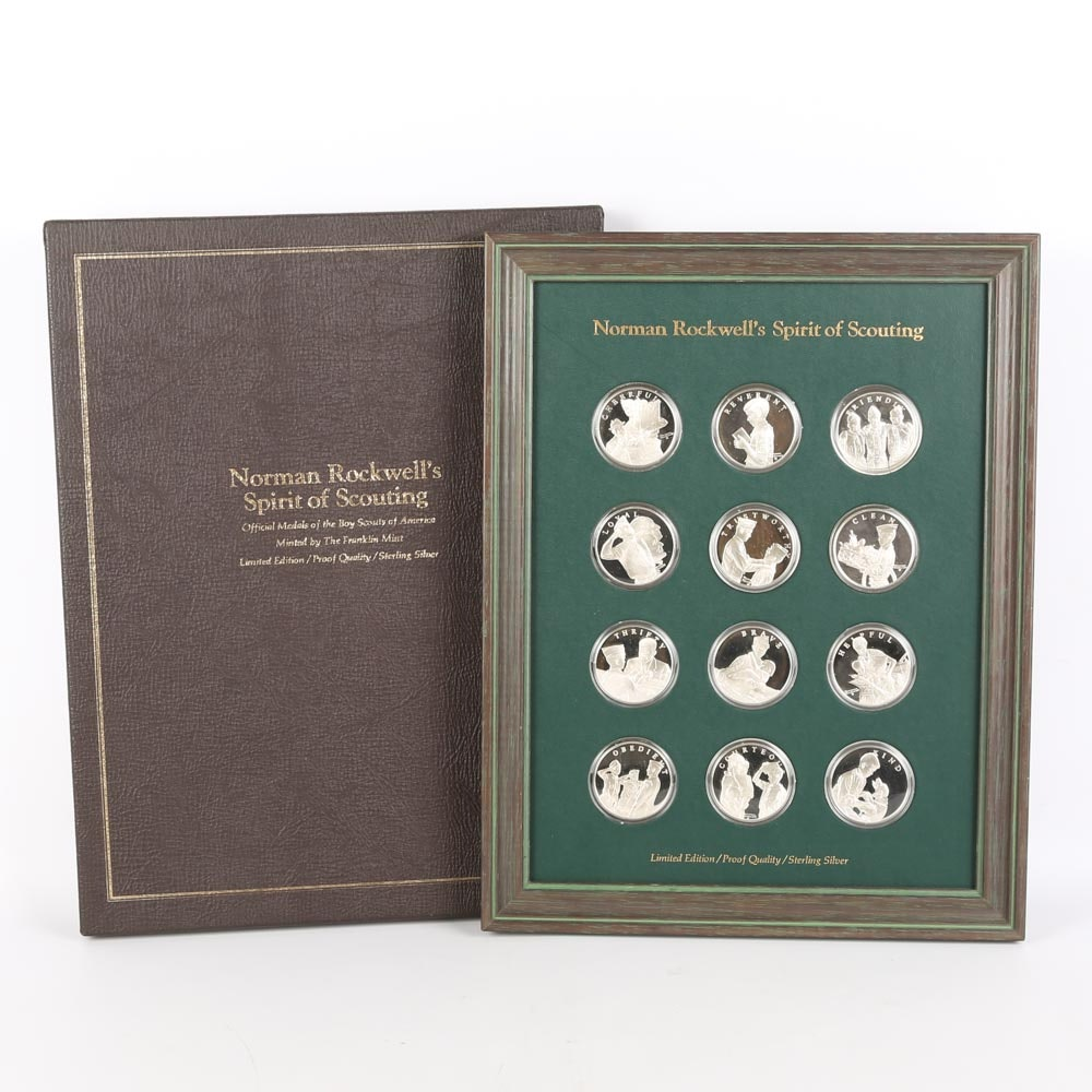 """Norman Rockwell's """"Spirit of Scouting"""" Sterling Silver Medals"""