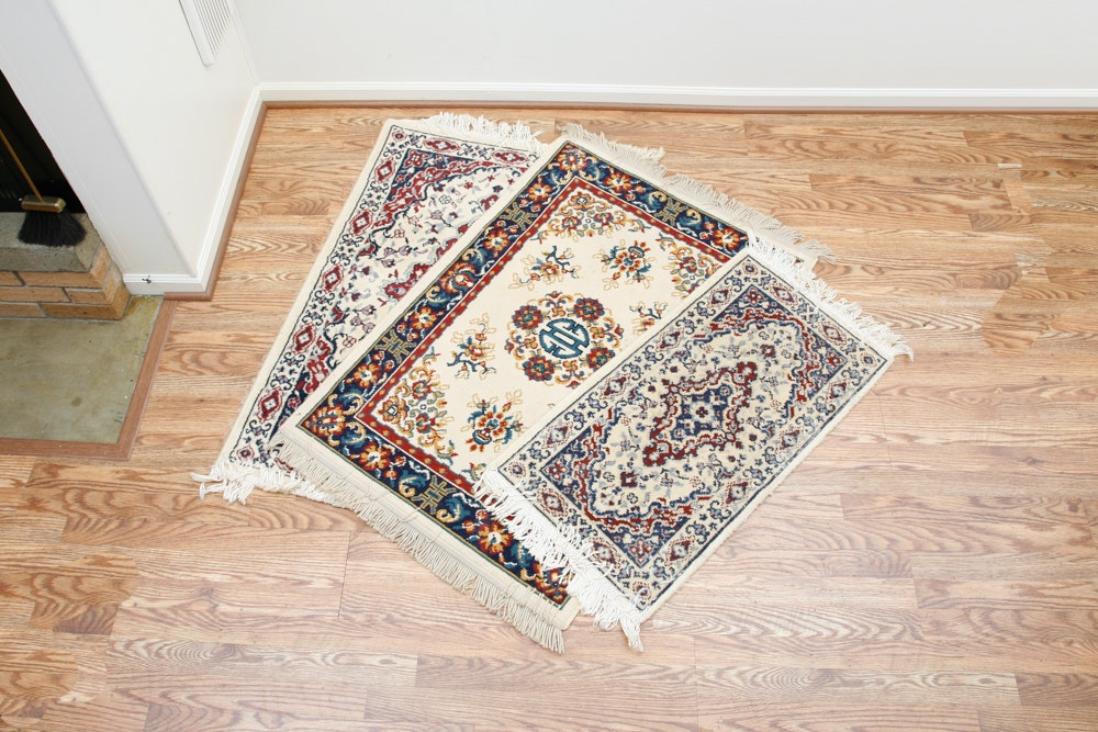 Three Machine Made Persian-Style Accent Rugs