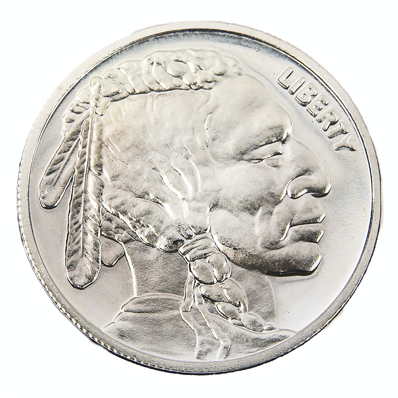 Buffalo Head One Troy Ounce .999 Fine Silver Round