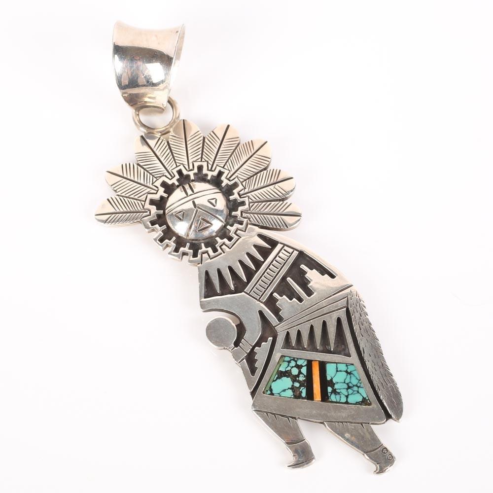 Sterling Silver and Multi Stone Kachina Pendant