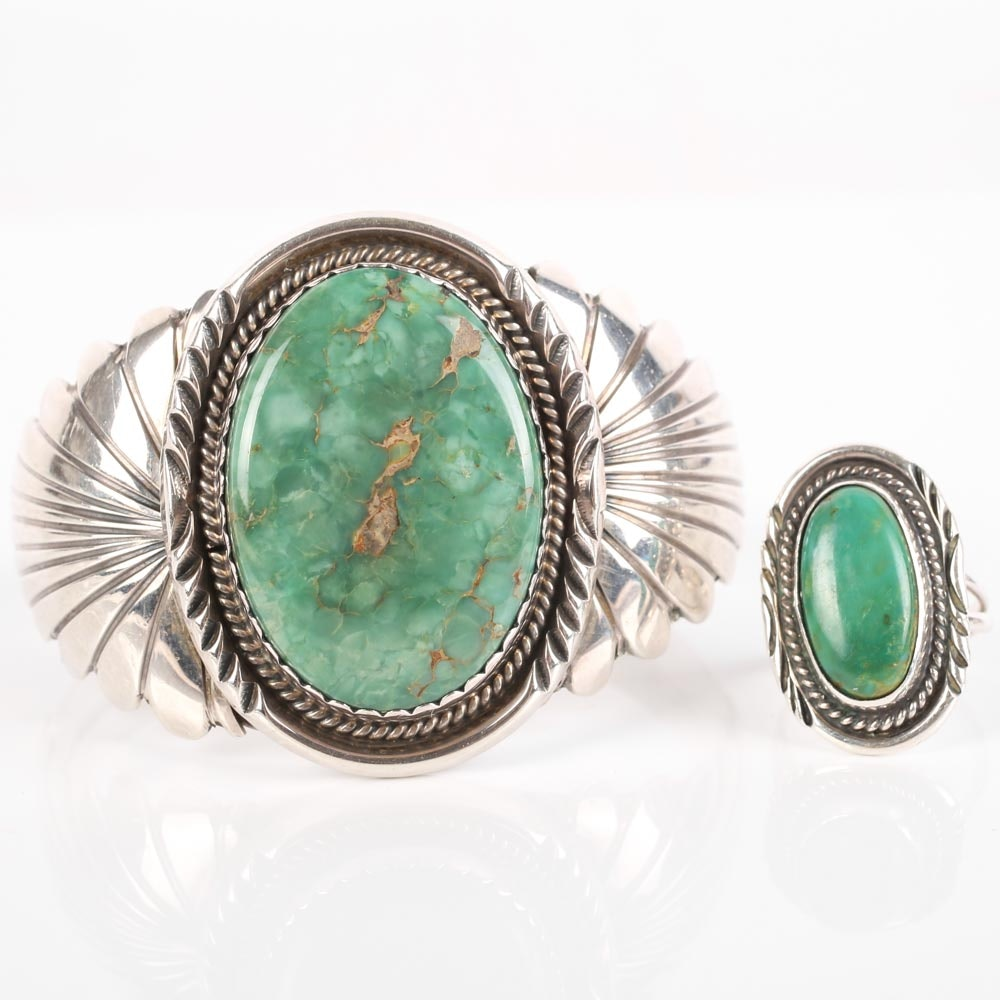 Sterling Silver and Turquoise Cuff and Accent Ring