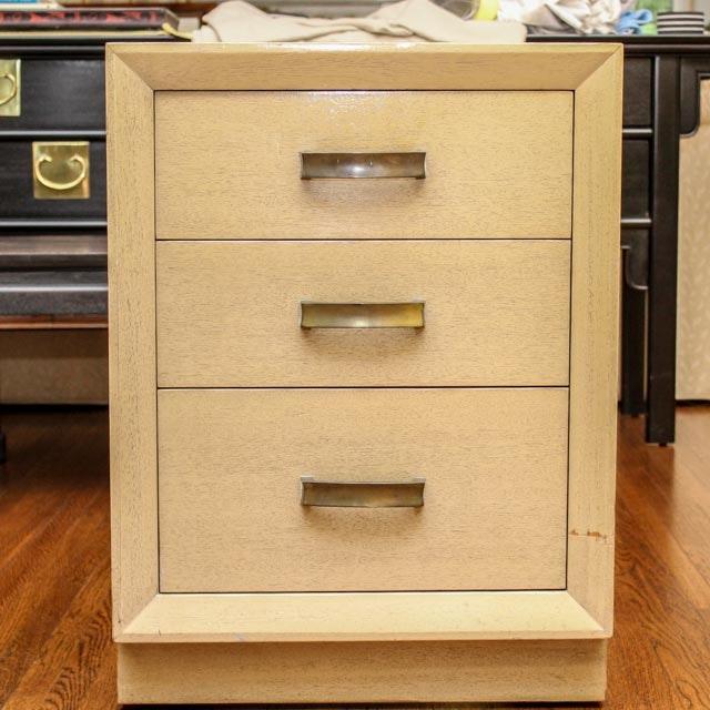 Blonde Mid Century Modern Three Drawer Nightstand