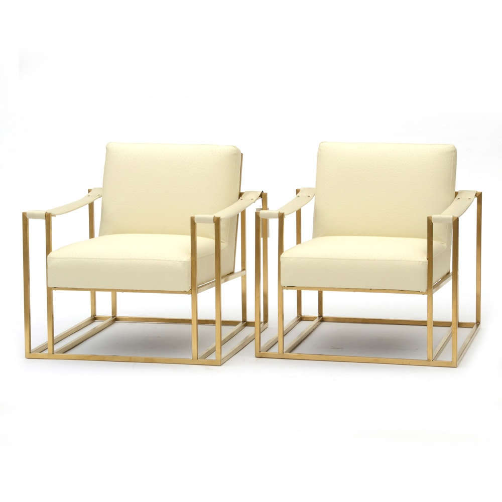 """Pair of TOV """"Baxter"""" Brass Framed Lounge Chairs"""